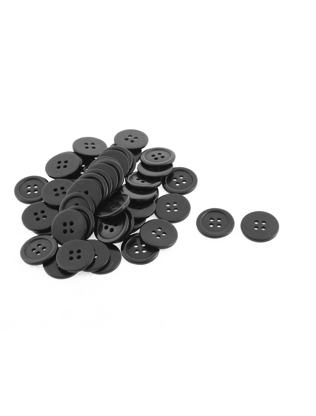 50Pcs 4 Holes Round Design Sewing Buttons Scrapbook Black