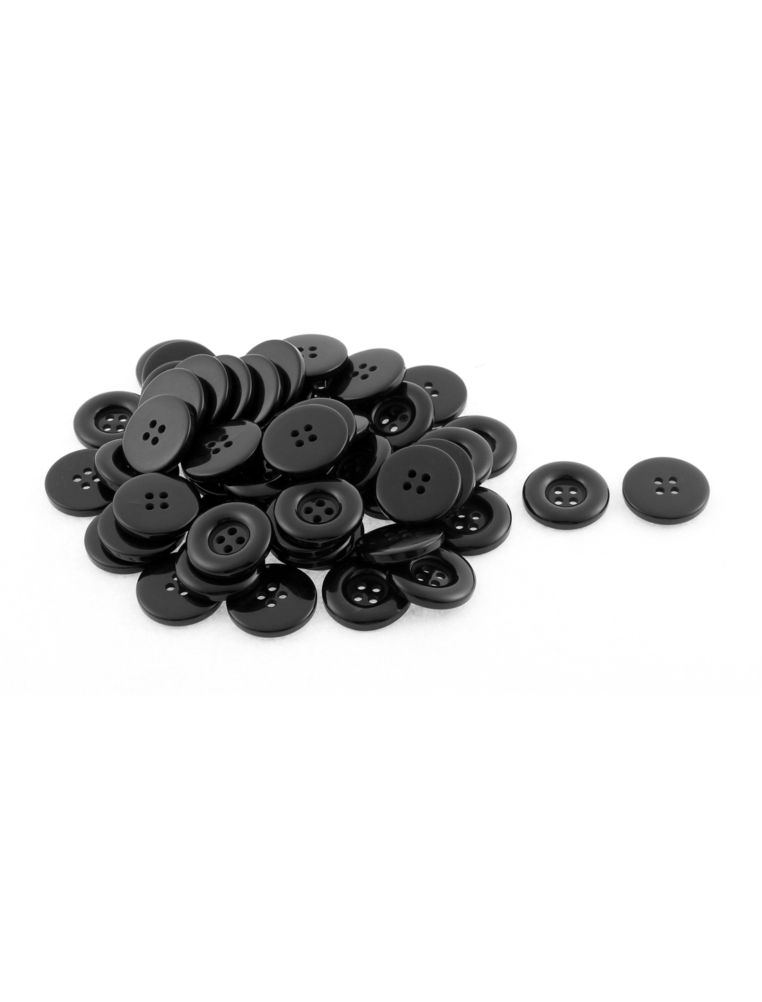 Craft Scrapbook Sewing Clothes Buttons Black 23mm Dia 4 Holes 50Pcs