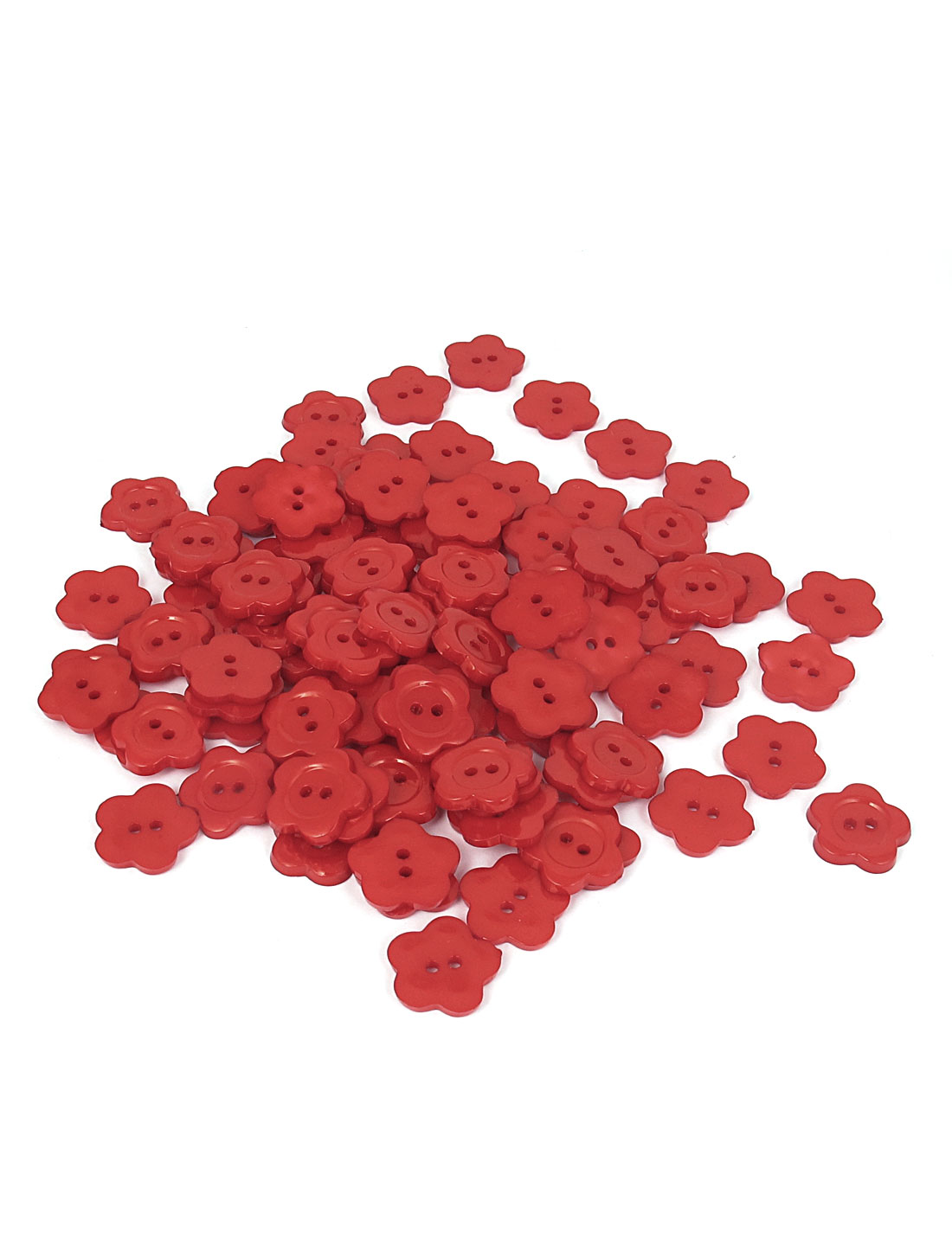 17mm Dia Plastic Fleur Shape 2-Hole Girl Clothing Clothes Button Red 100pcs