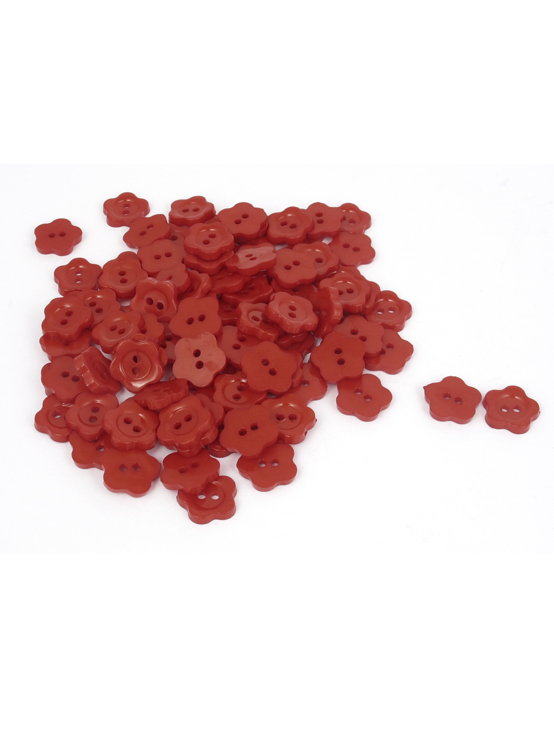 13mm Dia Plastic Fleur Shape 2-Hole Girl Clothing Clothes Button Red 100pcs