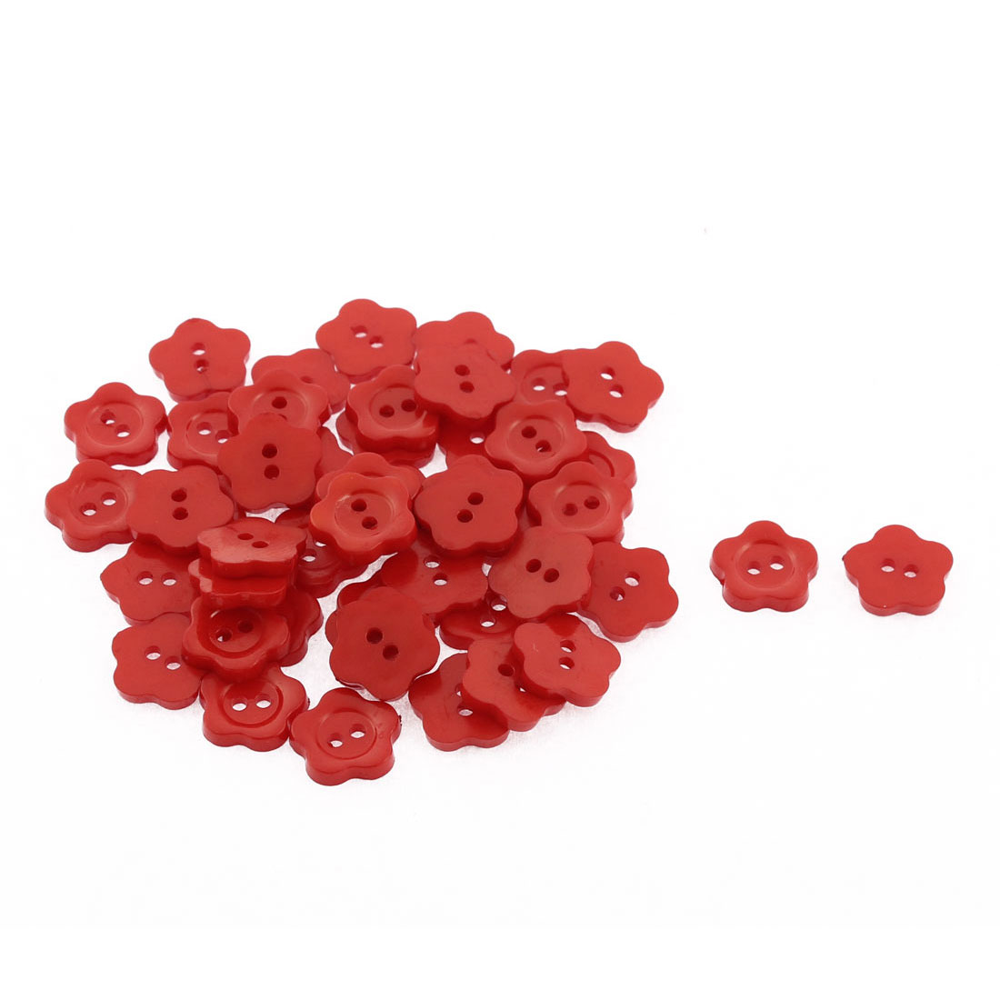 50Pcs 2 Holes 13mm Plastic Sewing Buttons Scrapbooking Red