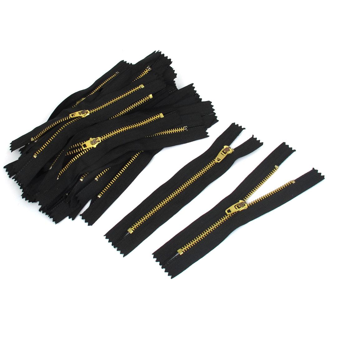 12cm Length Closed End Trousers Pants Jeans Metal Zipper Zip Black 30pcs