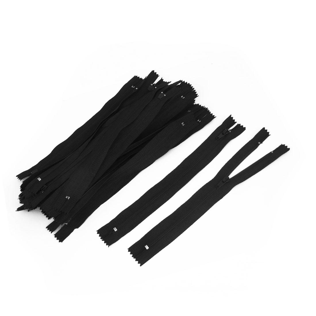 20cm Length Closed End Polyester Trousers Pants Zipper Zip Black 30pcs
