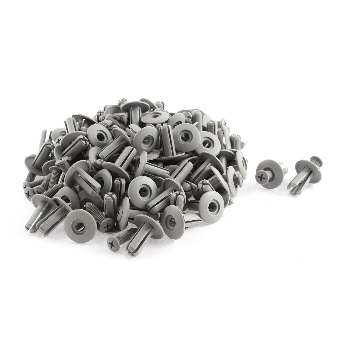 100 Pcs 20mm x 8mm Gray Plastic Push-Type Fastener Retainer Rivet