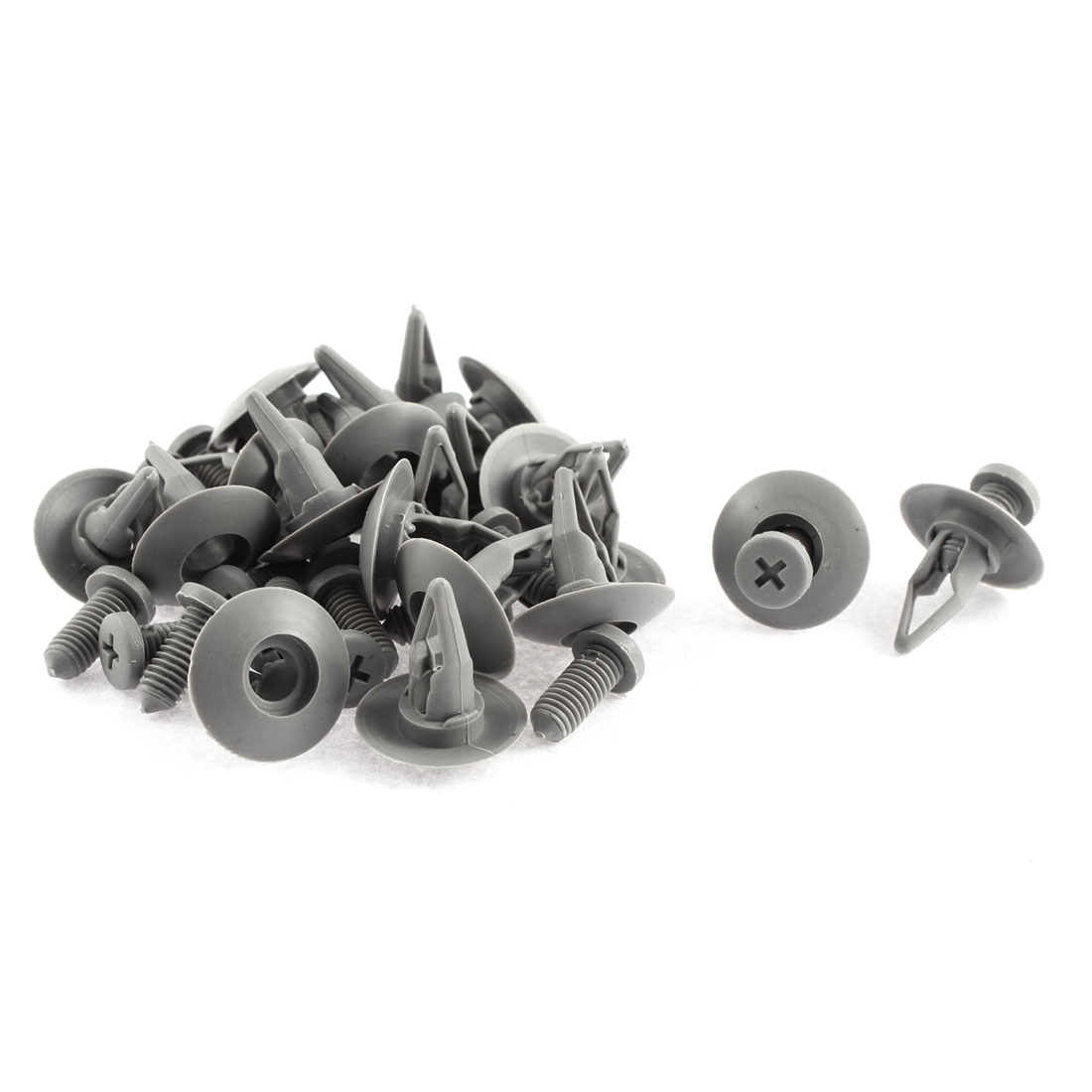 20 Pcs 20mm x 8mm Gray Plastic Push-Type Fastener Retainer Clips