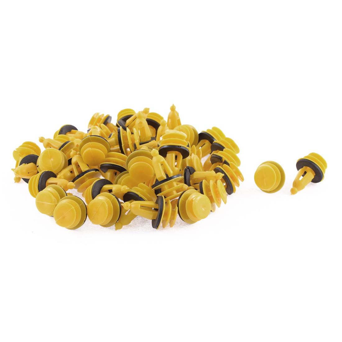50 Pcs Yellow Black Plastic Trim Panel Hood Mat Rivets Clips for Hyundai