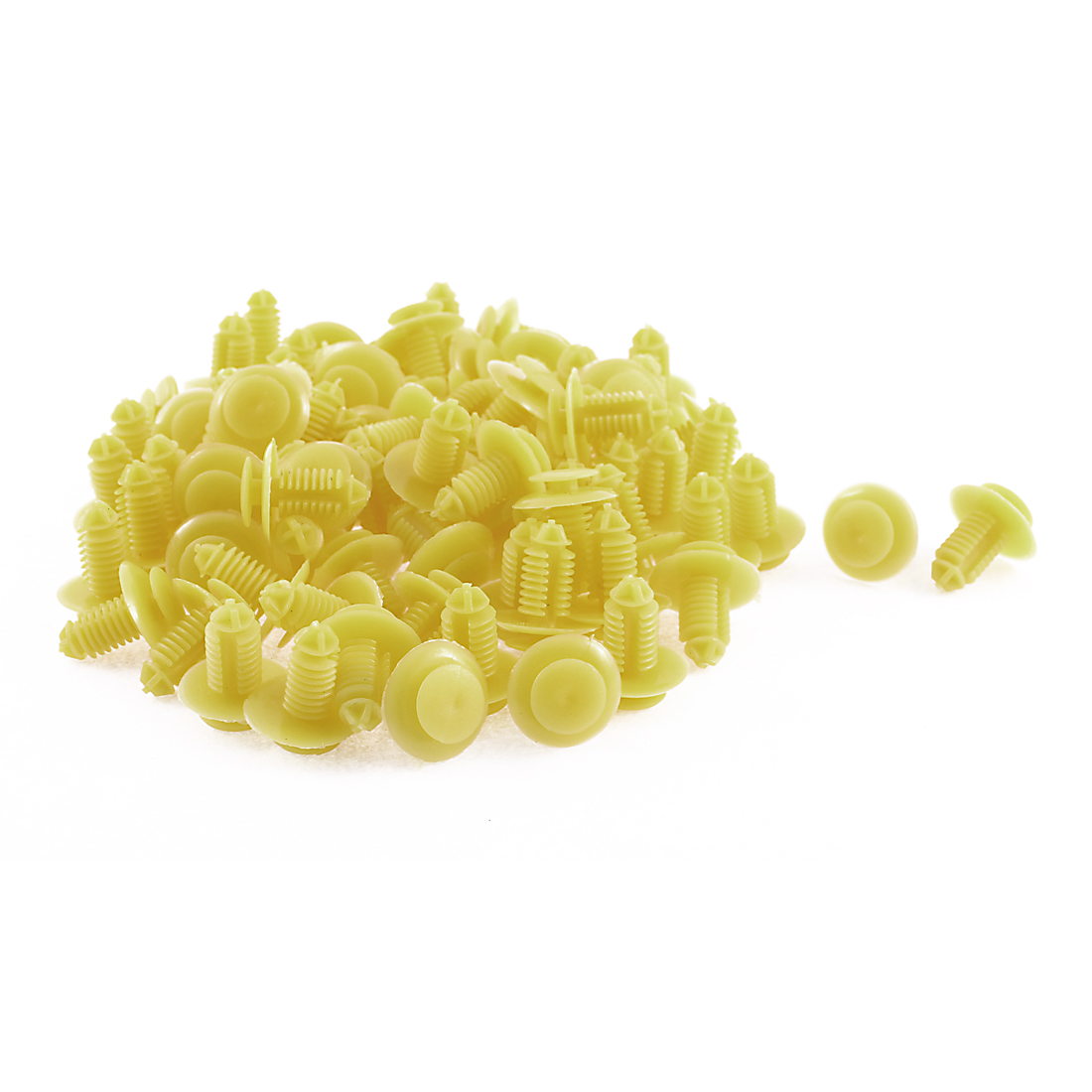 100 Pcs 10mm x 20mm Yellow Plastic Bumper Moulding Trim Rivets Fastener Clips