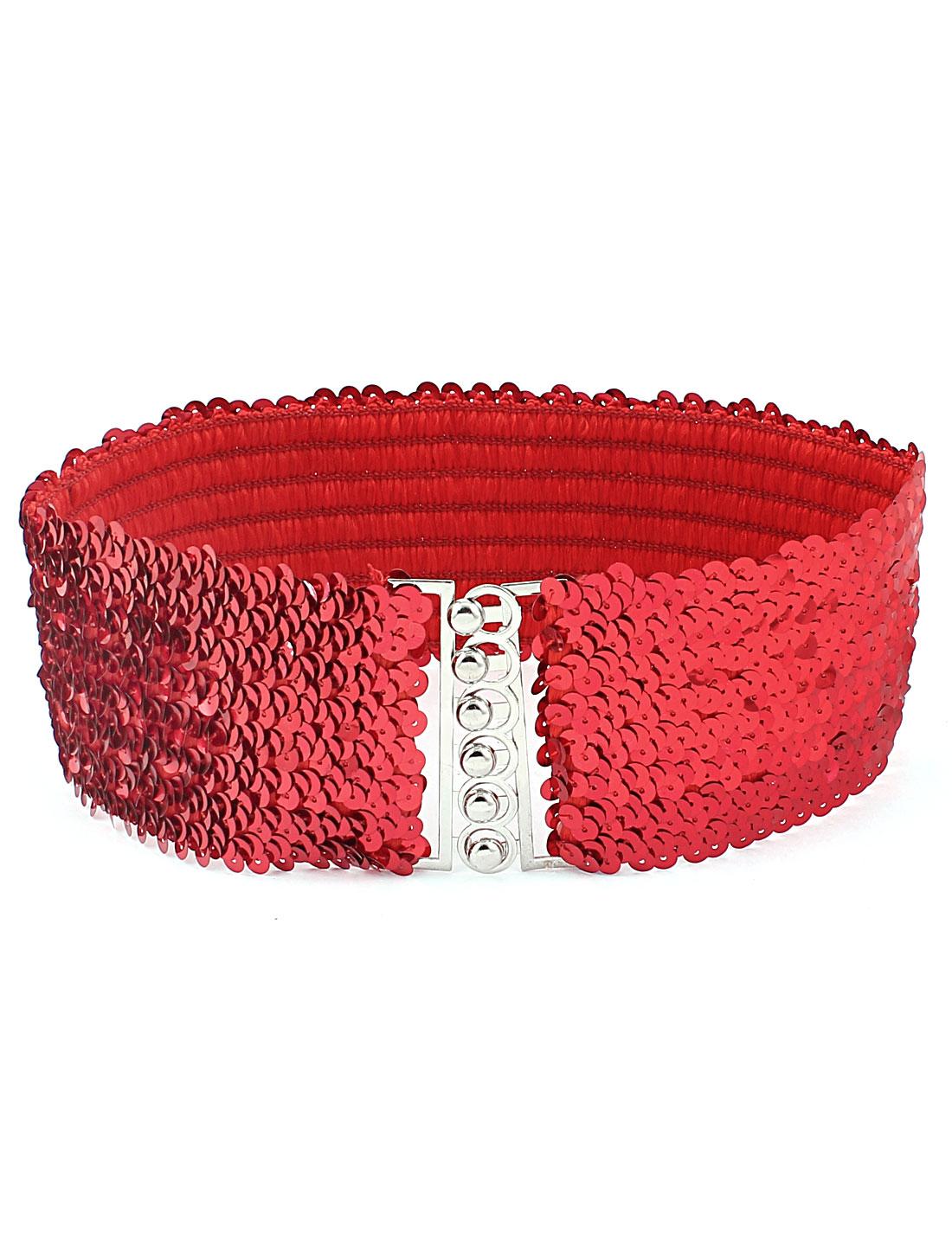 Woman Interlocking Link Plastic Sequin Decor Elastic Waist Band Belt Red