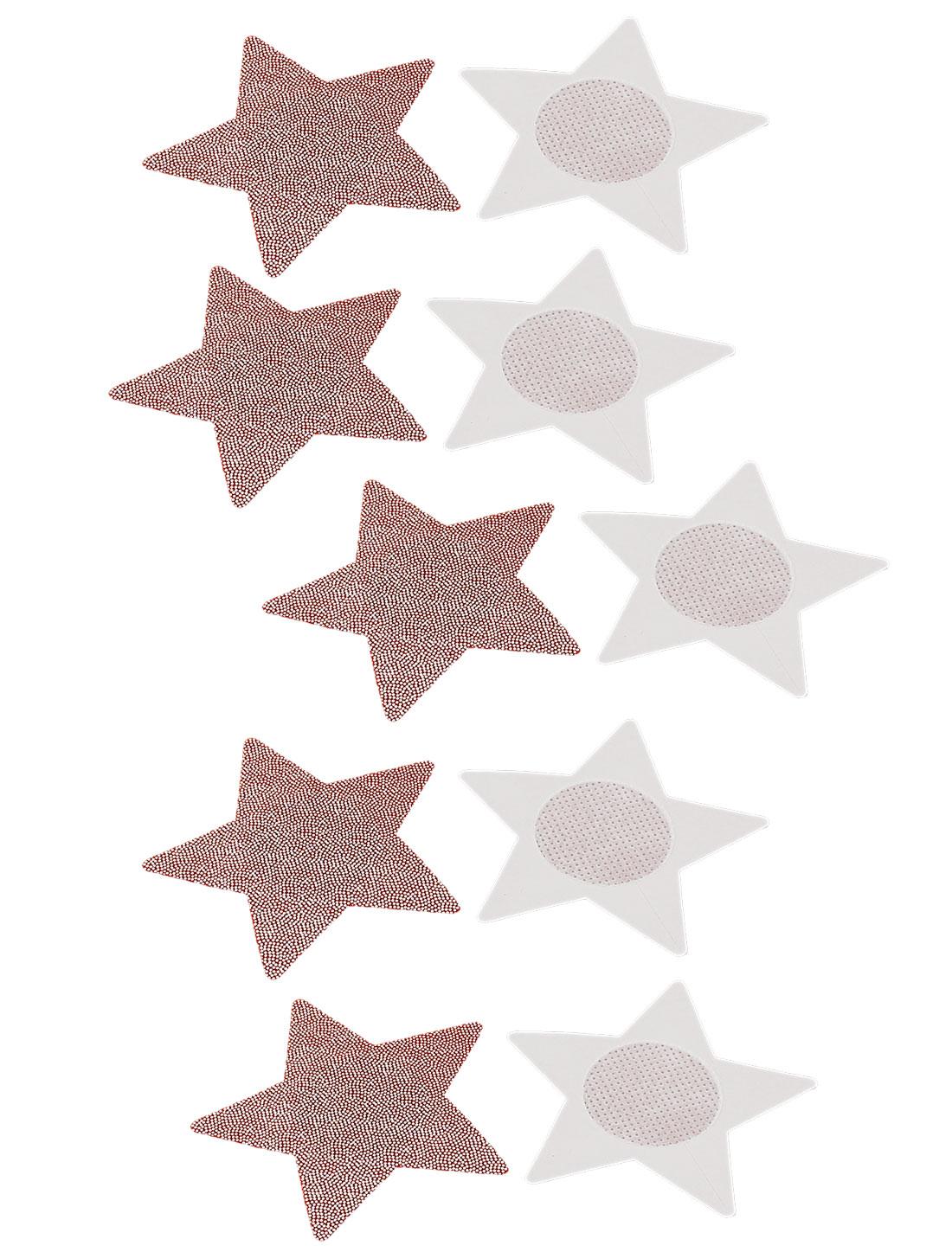 Lady Woman Star Shape Nipple Breast Sticker Cover Bra Pad Pink 5 Pairs
