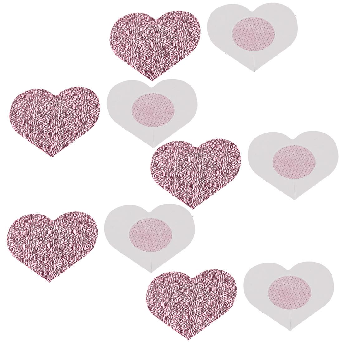 Lady Woman Heart Shape Nipple Breast Sticker Cover Bra Pad Pink 5 Pairs