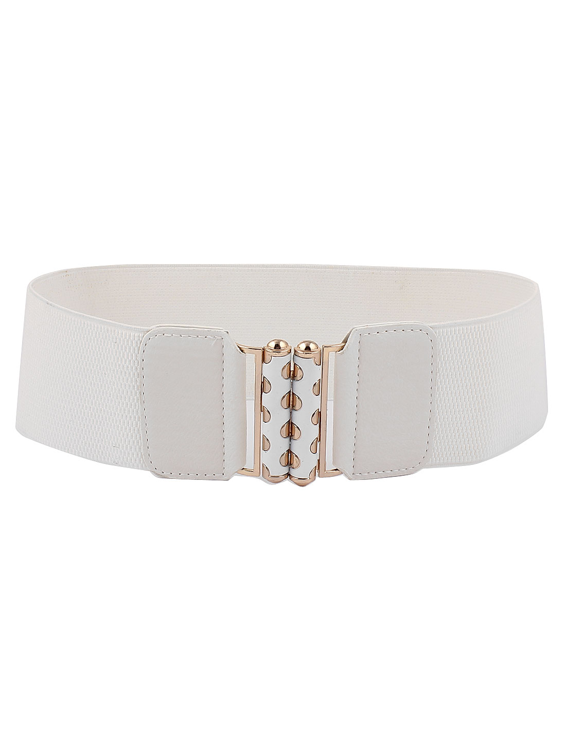 Women Metal Buckle 3 inch Wide Elastic Waist Belt Waistband White