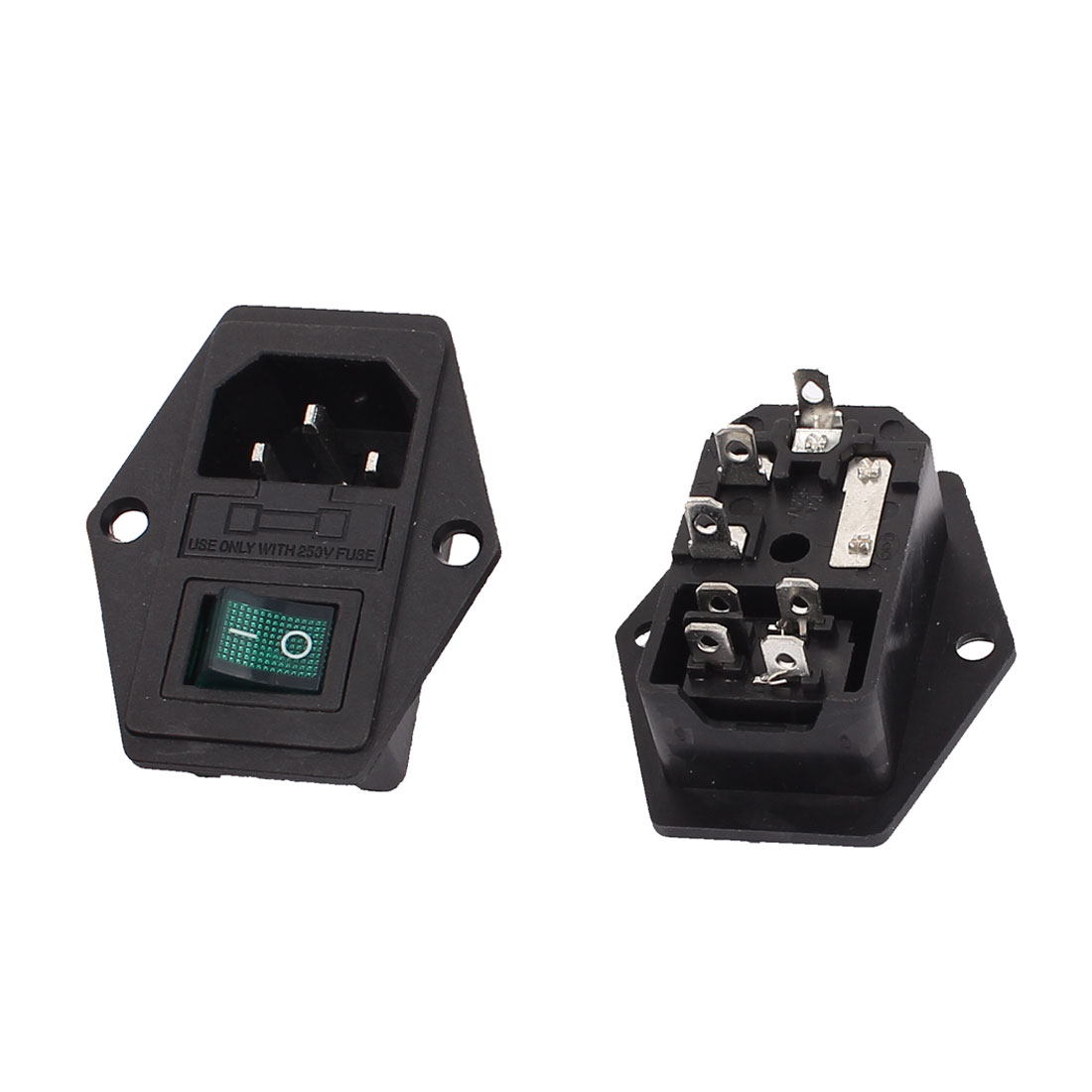 AC 250V 15A 3 Terminals IEC320 C14 Power Socket Male Fuse Switch 2pcs