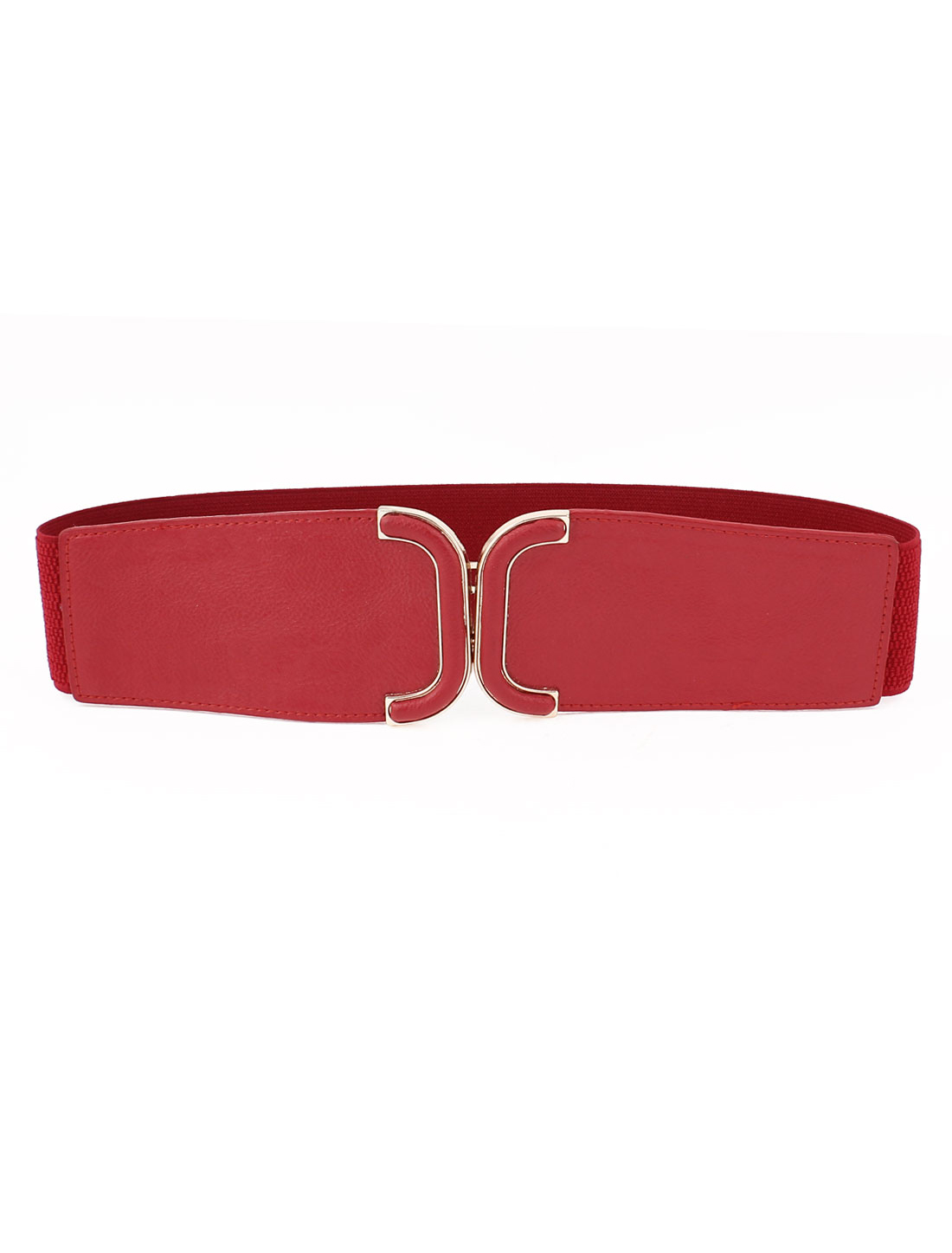 Women Metal Interlock Buckle Elastic Faux Leather Cinch Belt Band Red