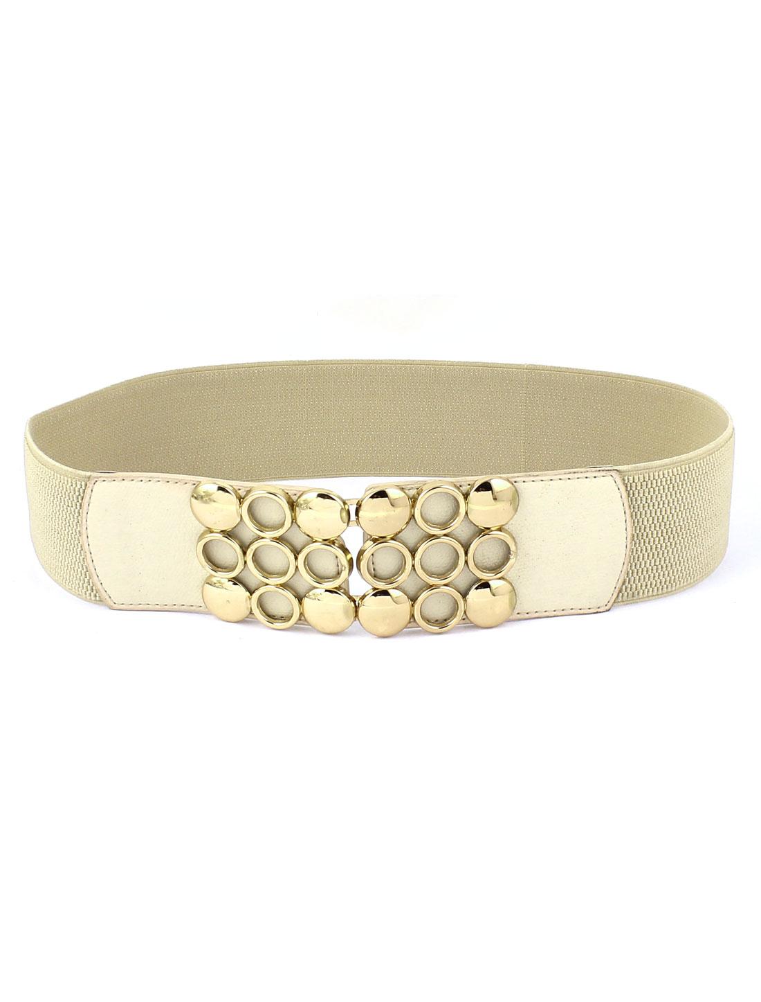 Women Metal Circle Decor Buckle Elastic Waist Cinch Belt Beige
