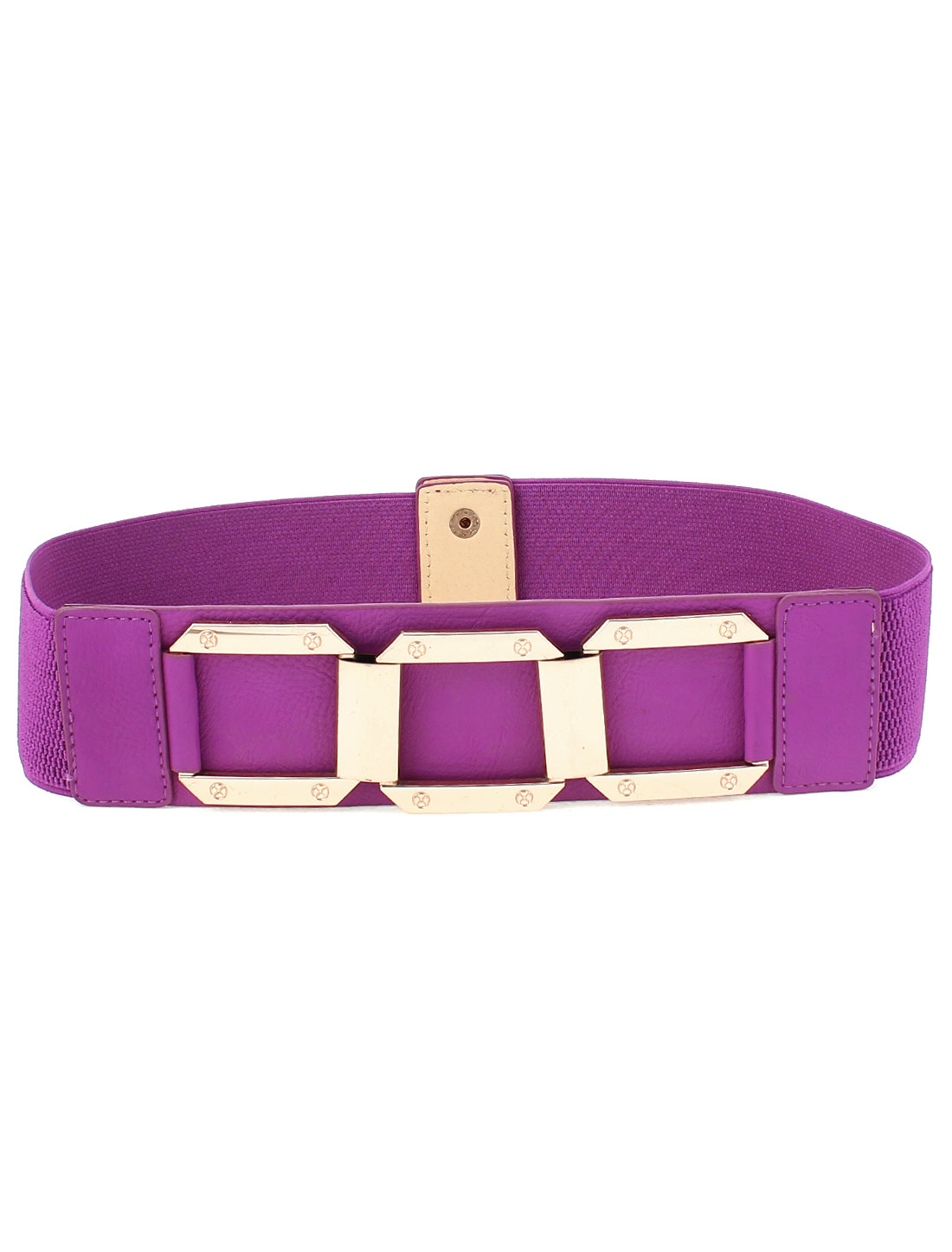 Lady Metal Circle Interlock Buckle Elastic Waist Belt Waistband Purple
