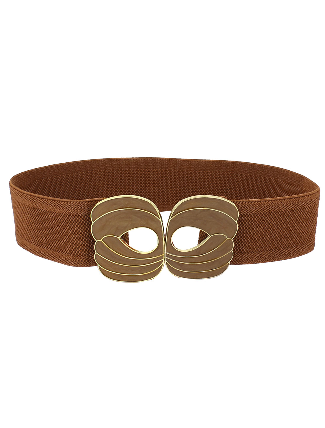Lady Metal Flower Interlocking Buckle Elastic Waist Belt Waistband Brown