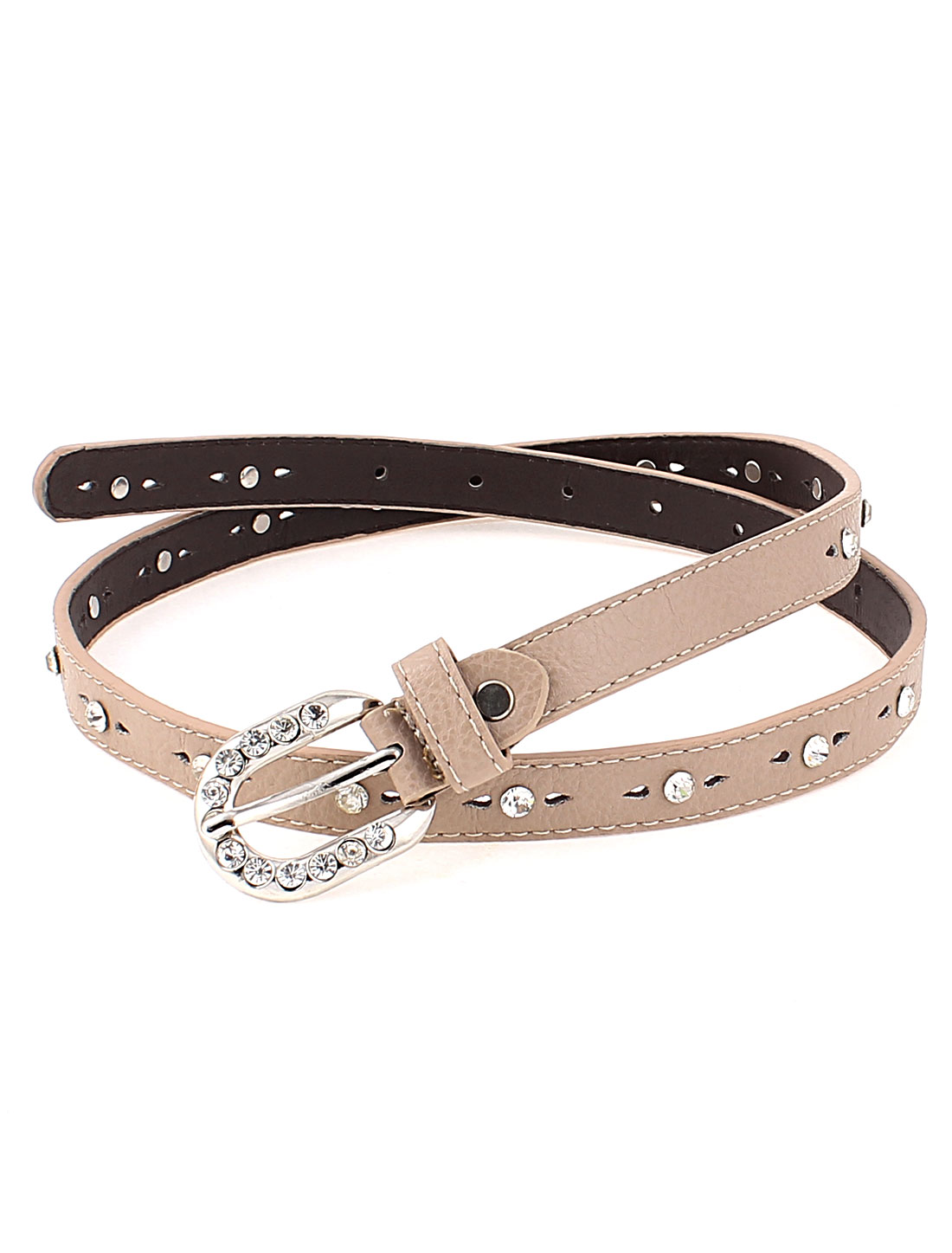 Lady Rhinestone Decor Metal Single Prong Buckle Waistbelt Belt