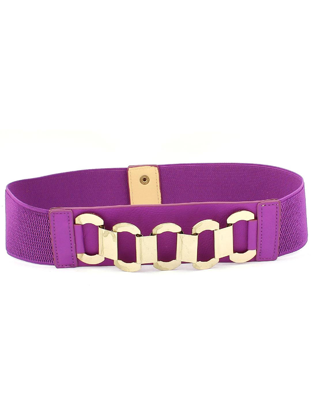 Lady Dress Interlock Buckle Wide Elastic Waist Belt Waistband Purple