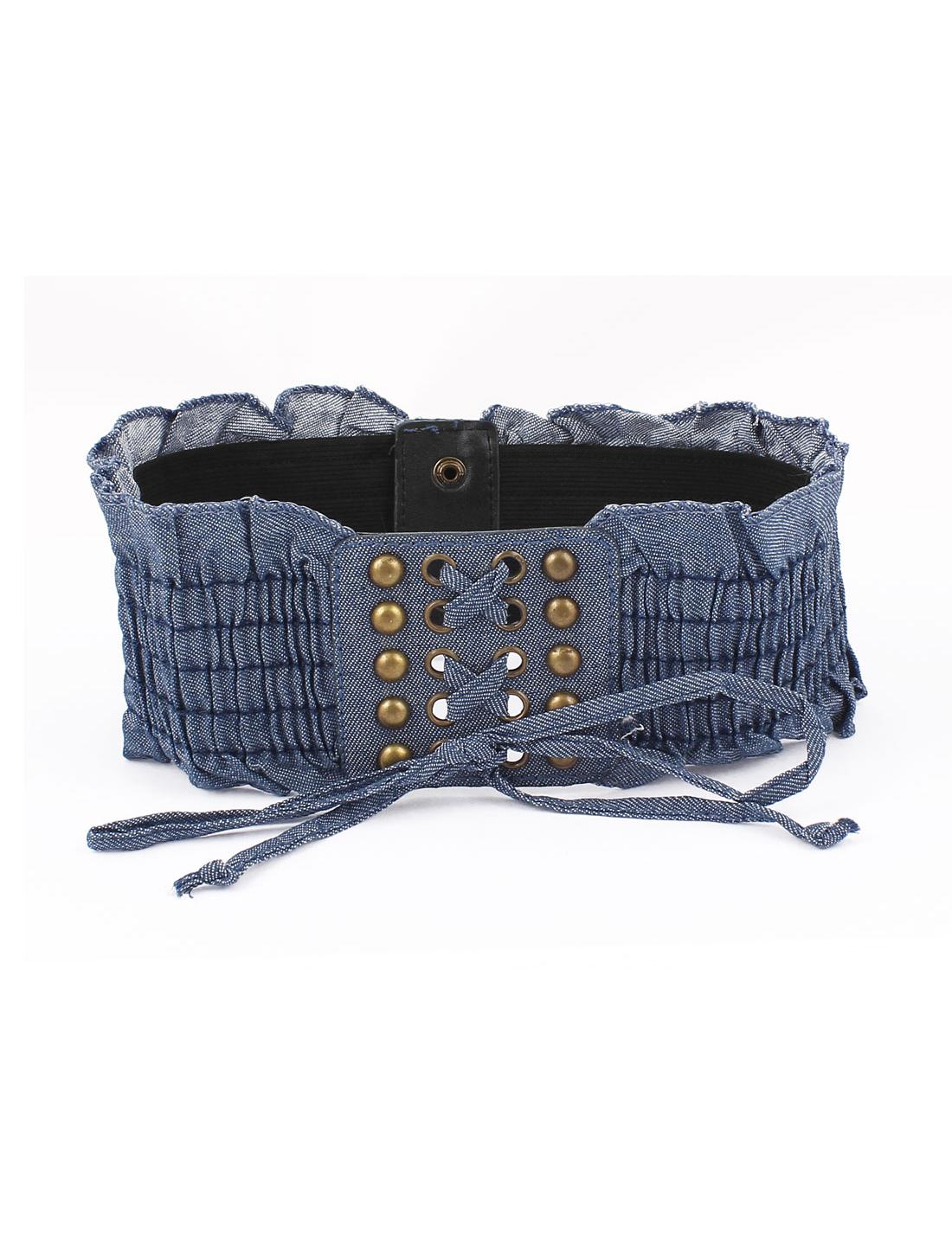 Lady Metal Interlock Buckle Wide Elastic Waist Belt Waistband Blue