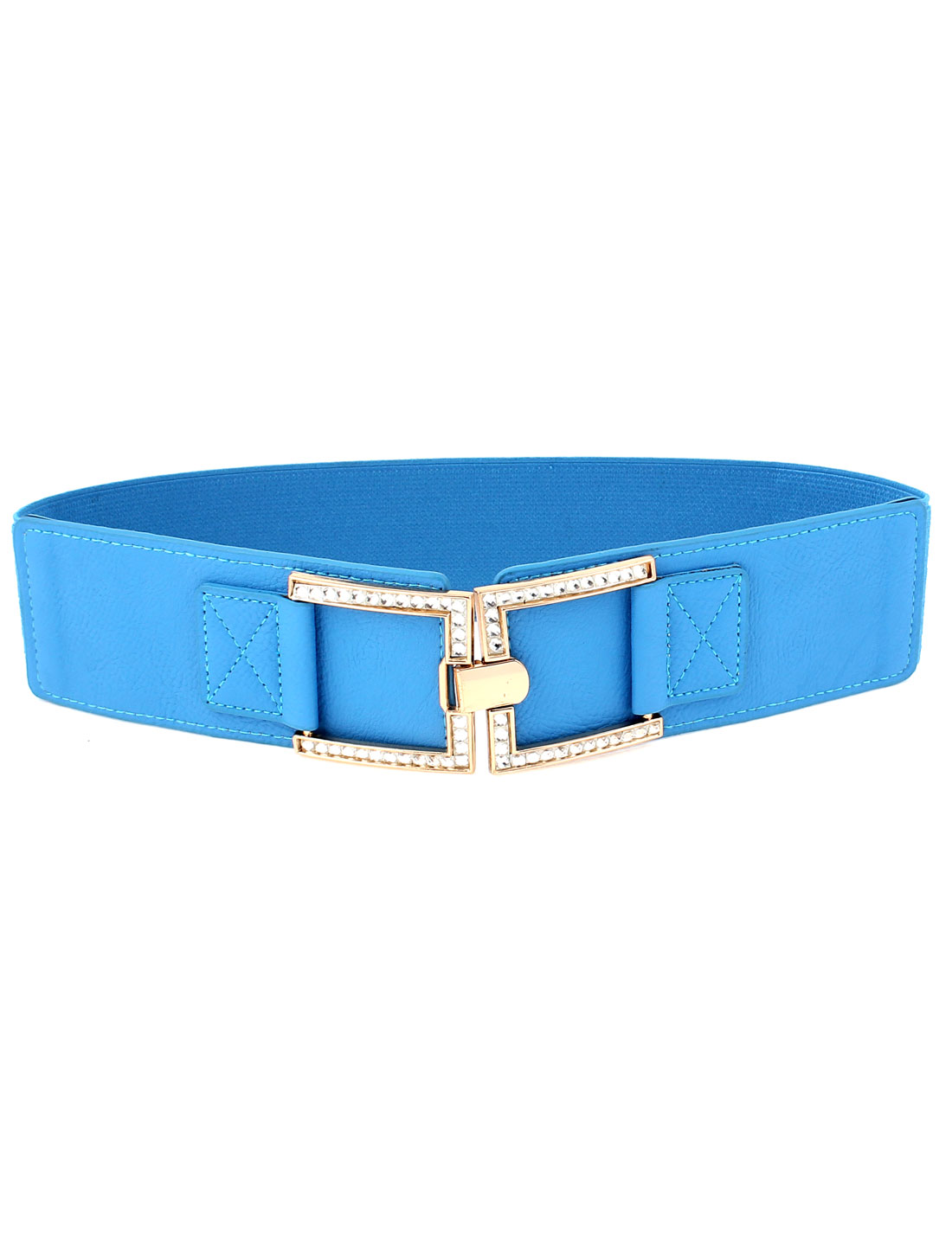 Women Metal Hook Buckle Wide Elastic Waist Cinch Belt Band Blue