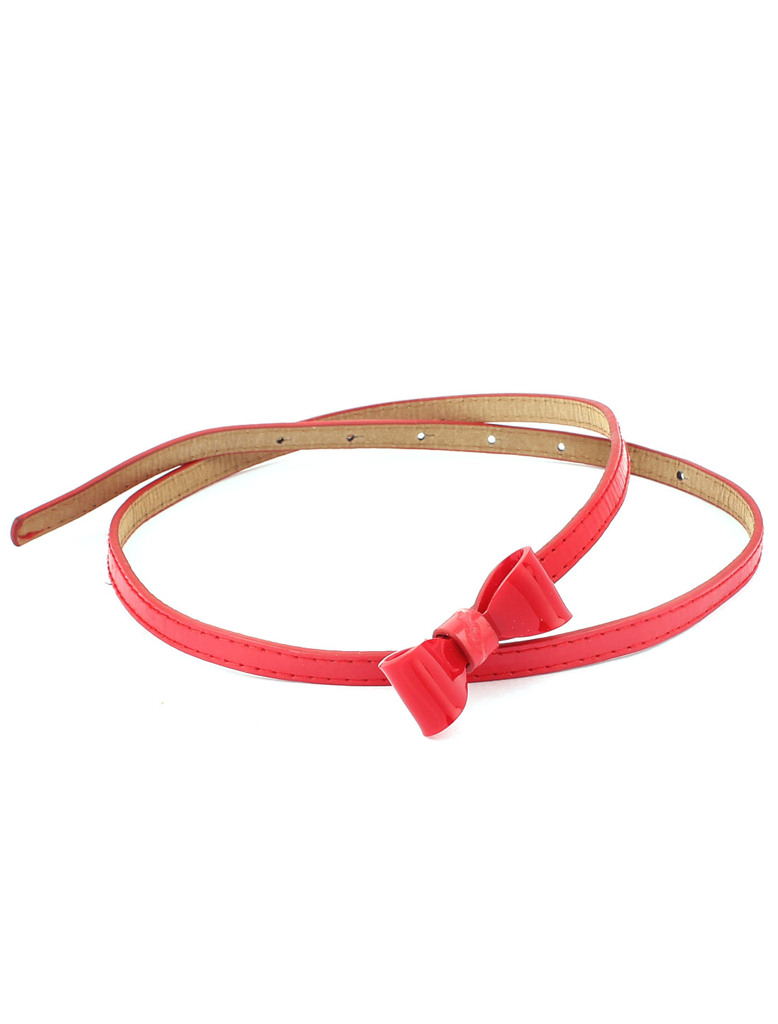 Women Faux Leather Thin Bowknot Narrow Waist Belt Strap Waistband Red