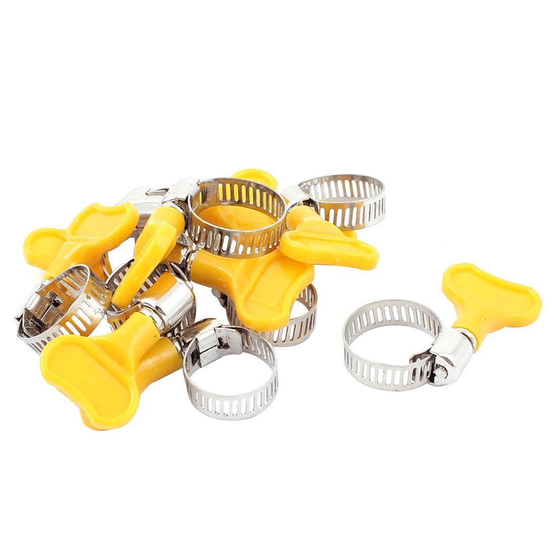 Adjustable 17 - 22mm Range Band Worm Gear Pipe Hose Clip Fastener Clamp 10Pcs
