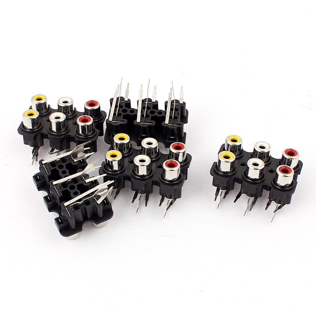 PCB Mount Stereo Audio Video Jack AV Socket 6 RCA Position Female Connector 5Pcs