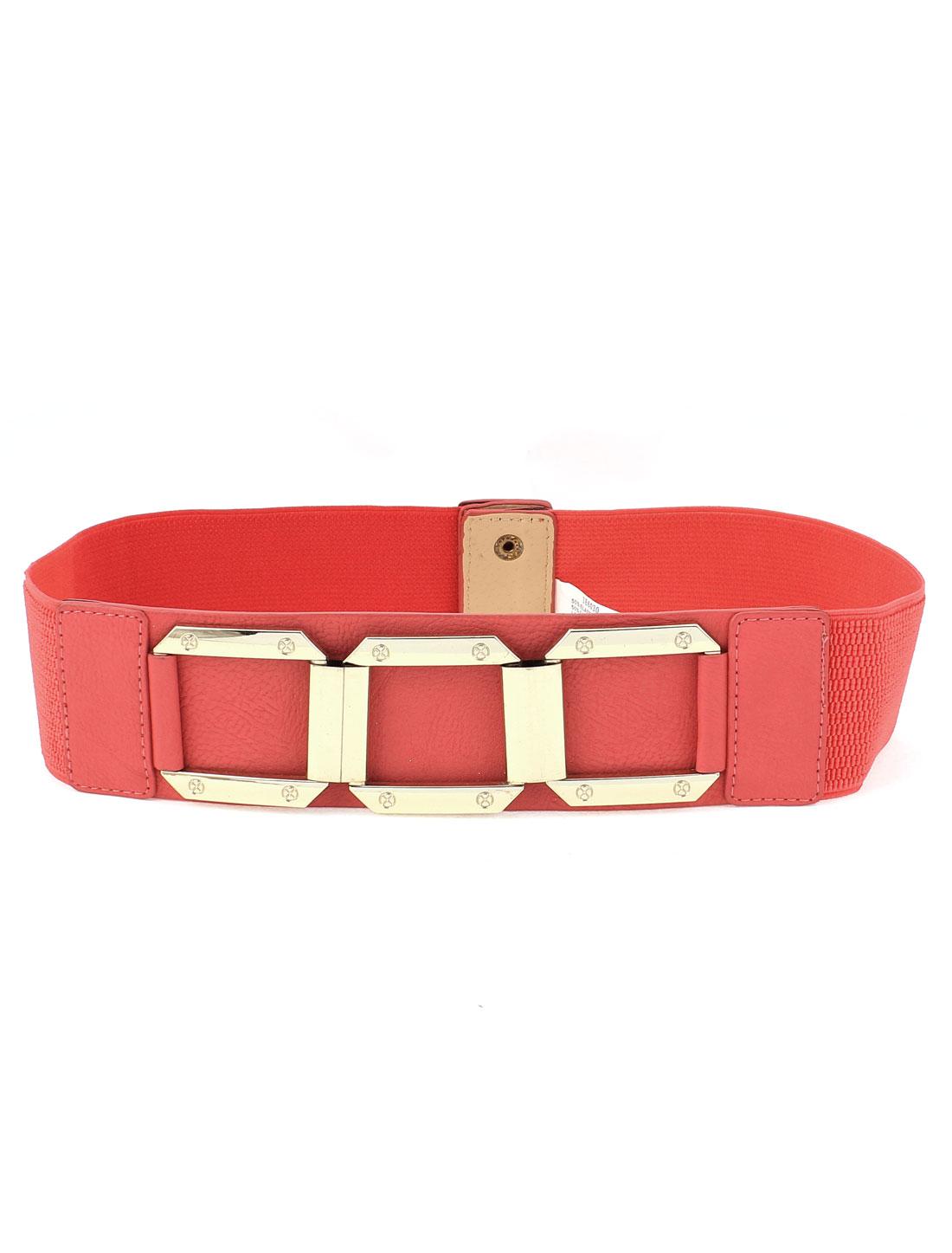 Women Metal Interlock Buckle Wide Elastic Waist Belt Cinch Pink