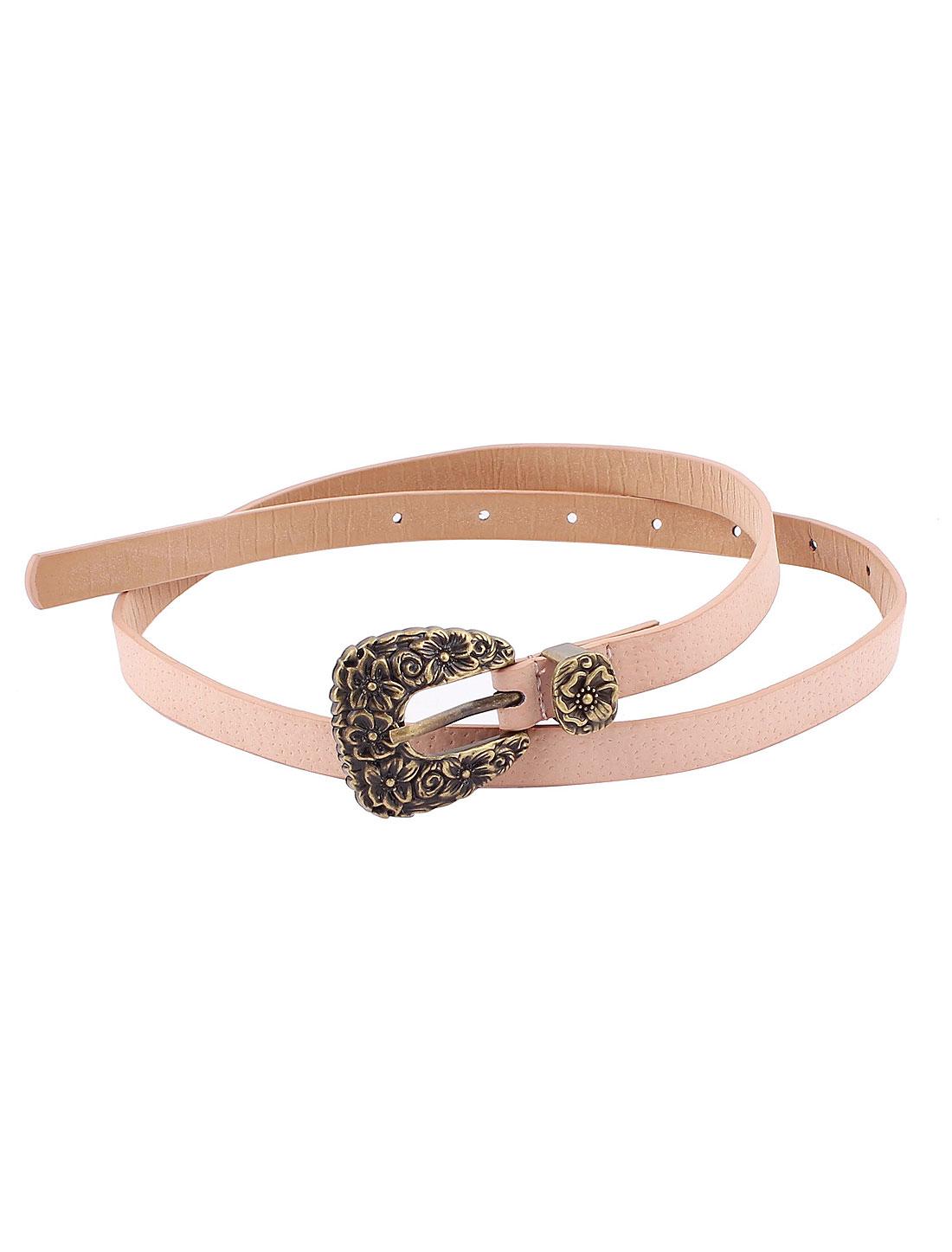 Bronze Tone Metal Flower Buckle Women Slim Waist Belt Waistbelt