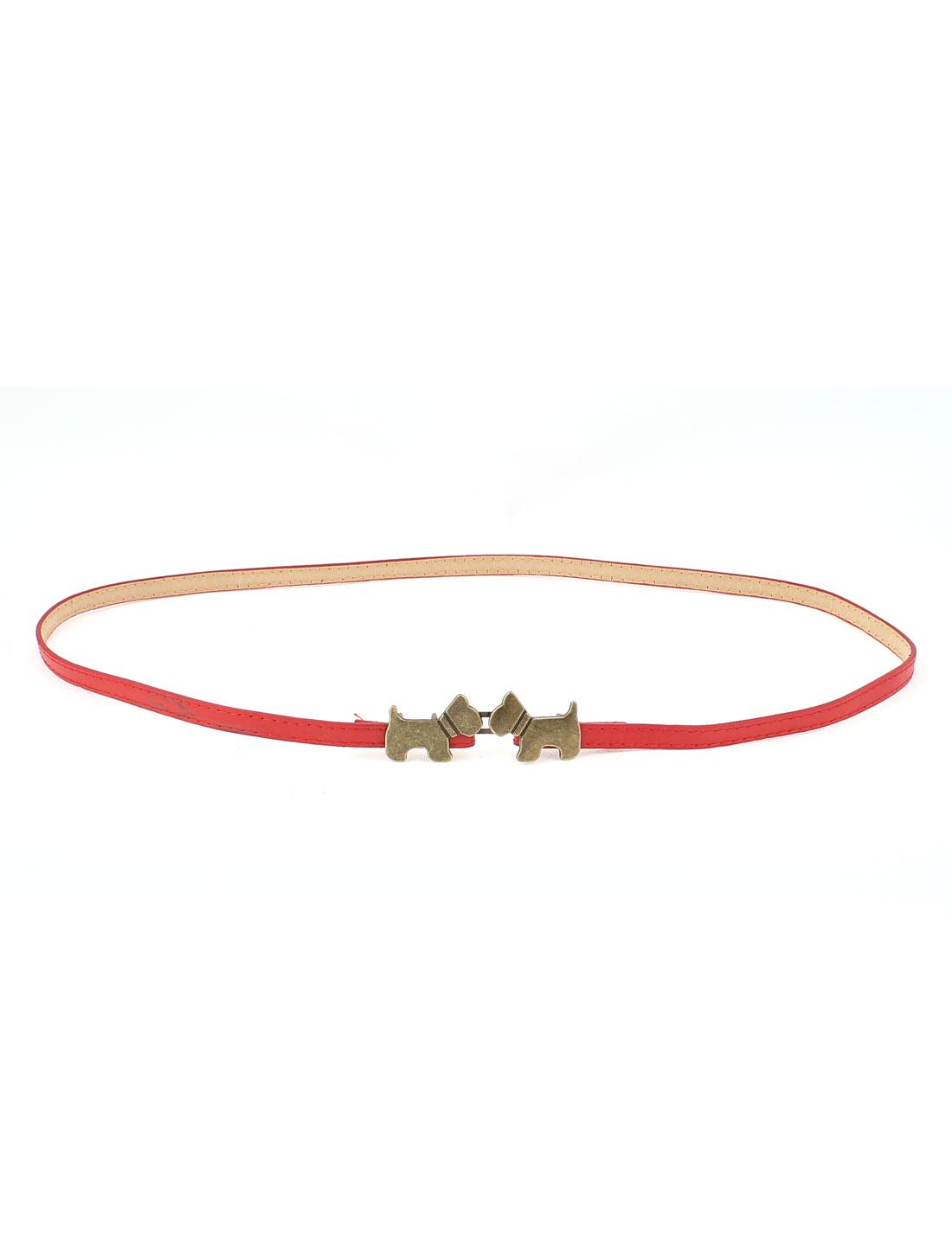 Women Red Gold Tone Metal Interlock Buckle Adjustable Waist Belt Waistband