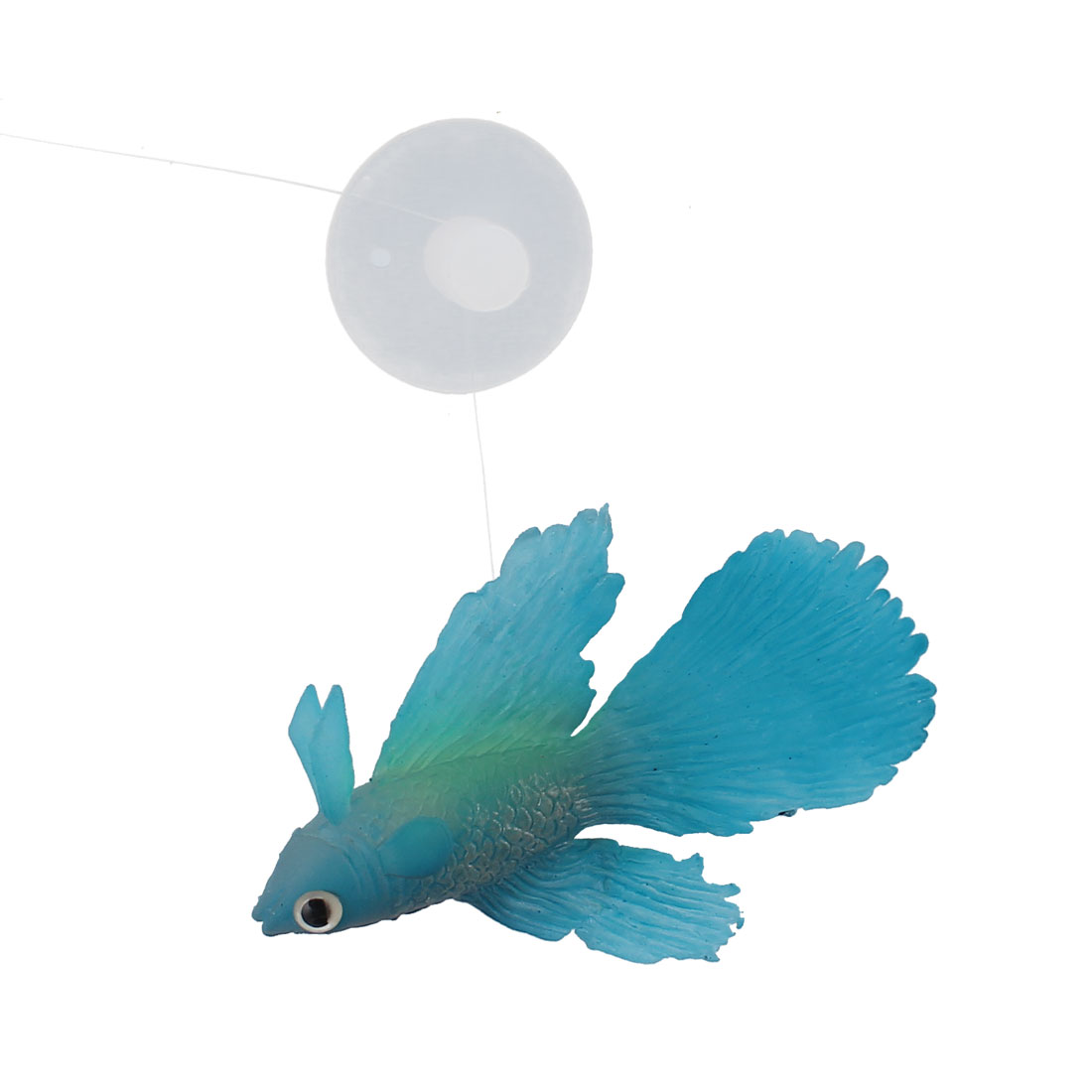 Aquarium Fish Tank Suction Cup Simulated Floating Betta Decor Ornament Blue