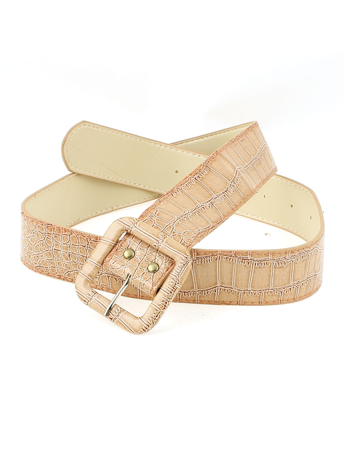 Lady Metal Single Buckle Wide Waist Belt Waistband Waistbelt Beige