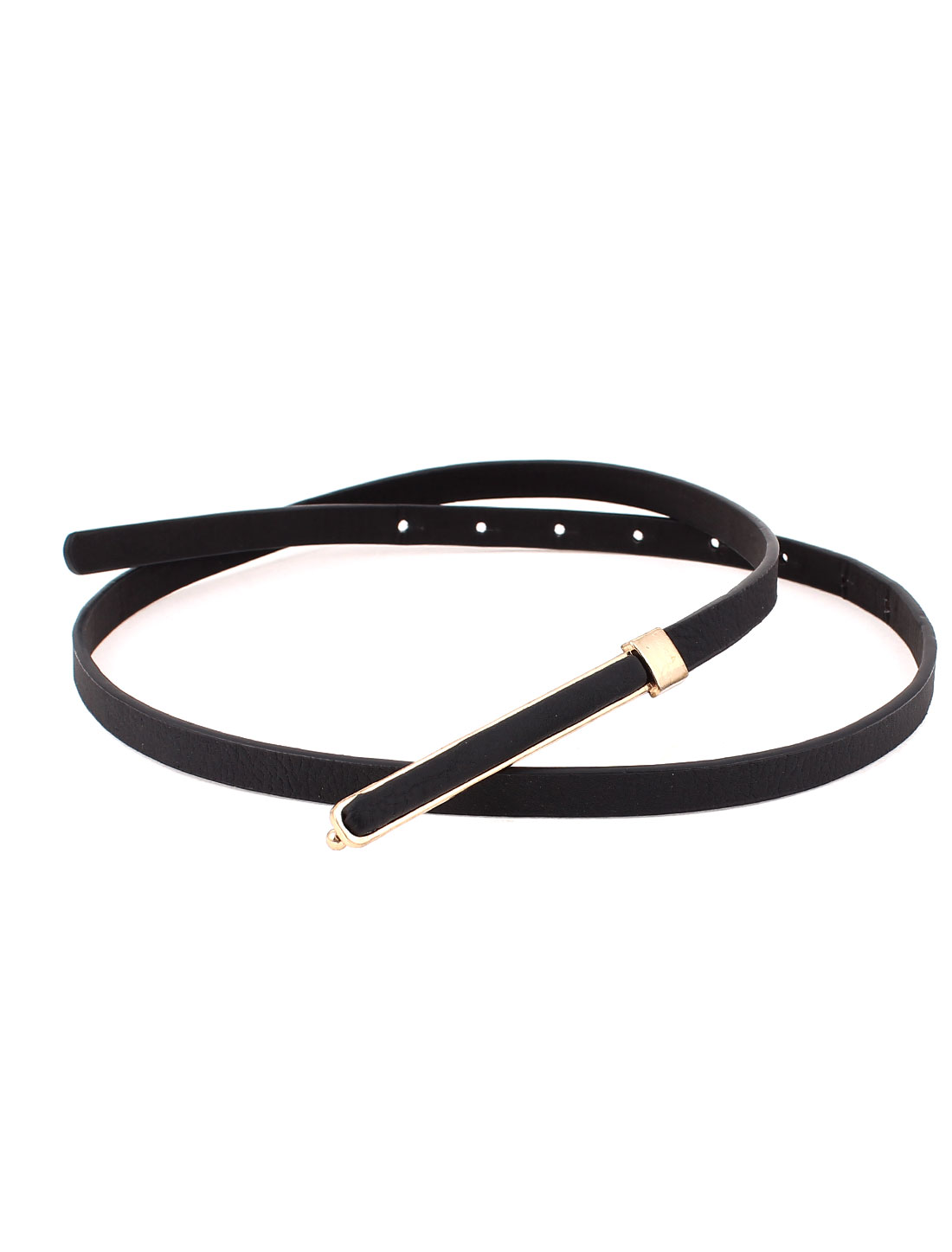 Lady Metal Press Buckle Skinny Cinch Thin Waist Belt Waistband Black