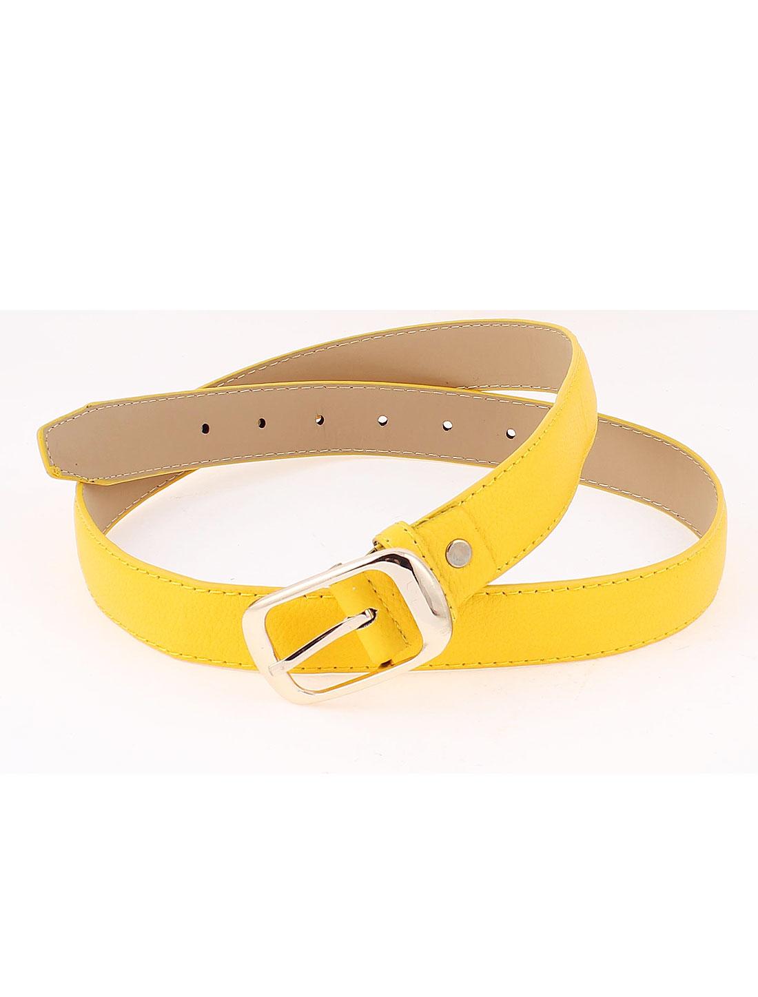 Ladies Metal Buckle Faux Leather Skinny Slim Waist Belt Band Yellow