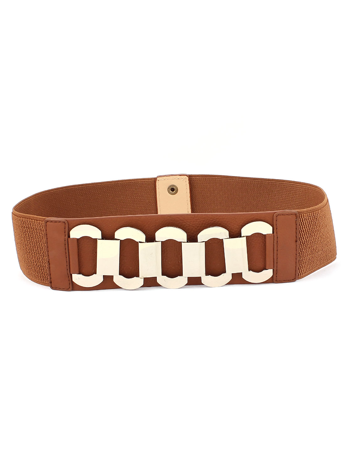 Lady Metal Interlock Buckle Stretch Waist Belt Cinch Band Brown