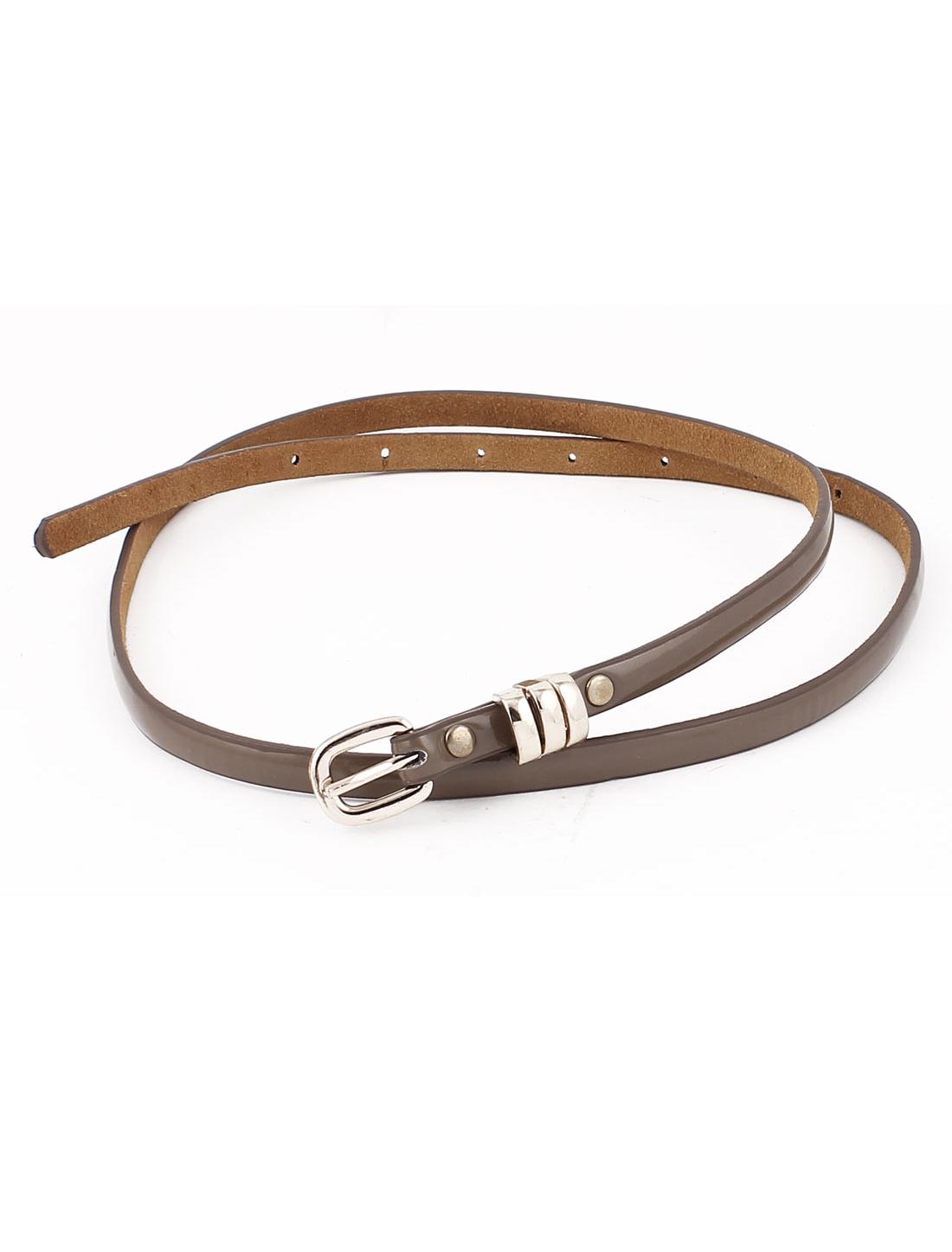 Women Metal Gold Tone Buckle Skinny Waistband Belt Waistbelt