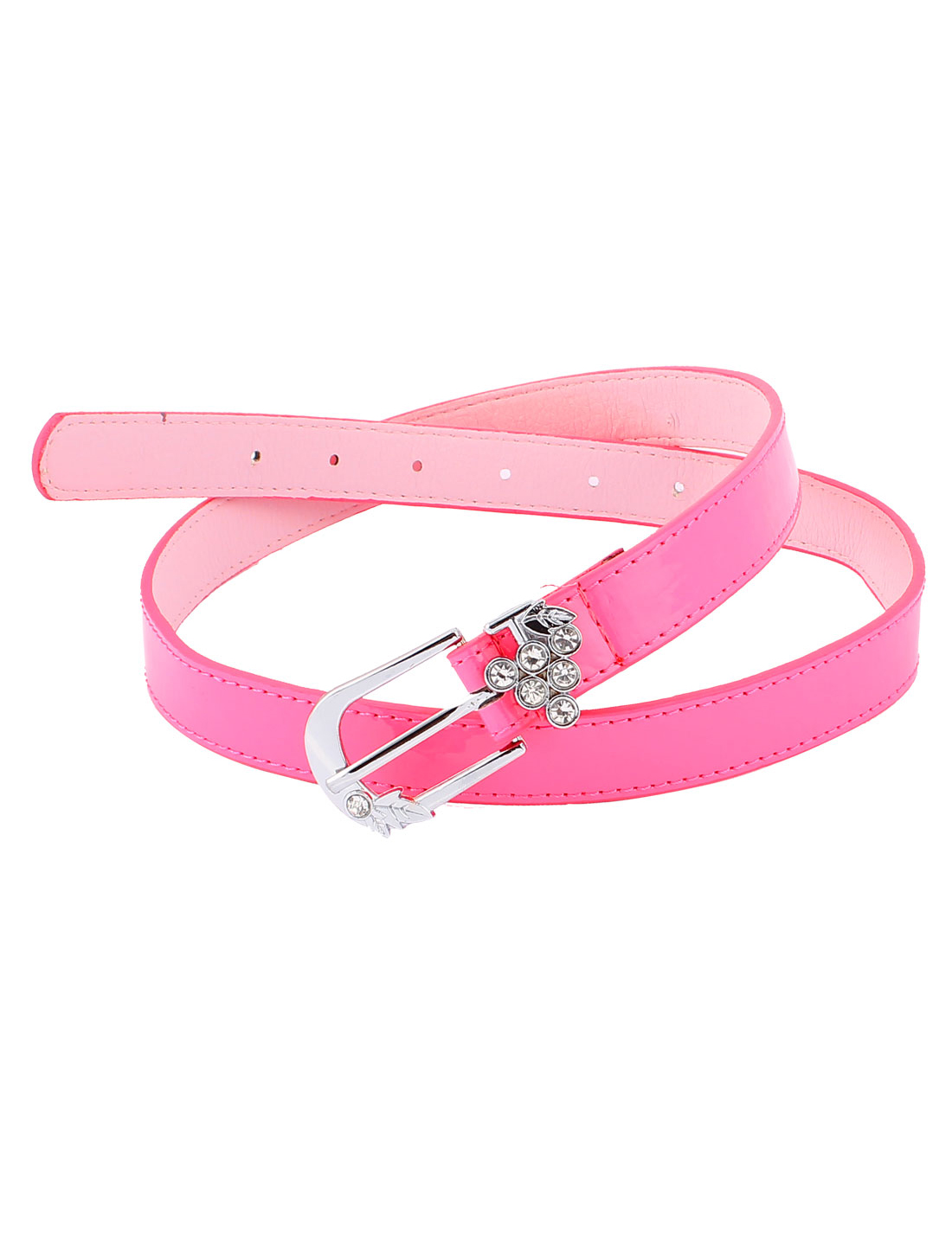 Lady Women Faux Leather Single Buckle Slim Waist Belt Waistbelt Pink
