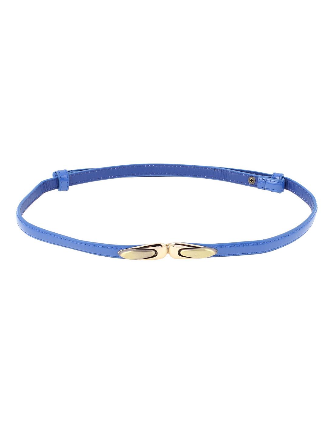 Women Slim Metal Buckle Adjustable Skinny Waist Belt Waistband Blue