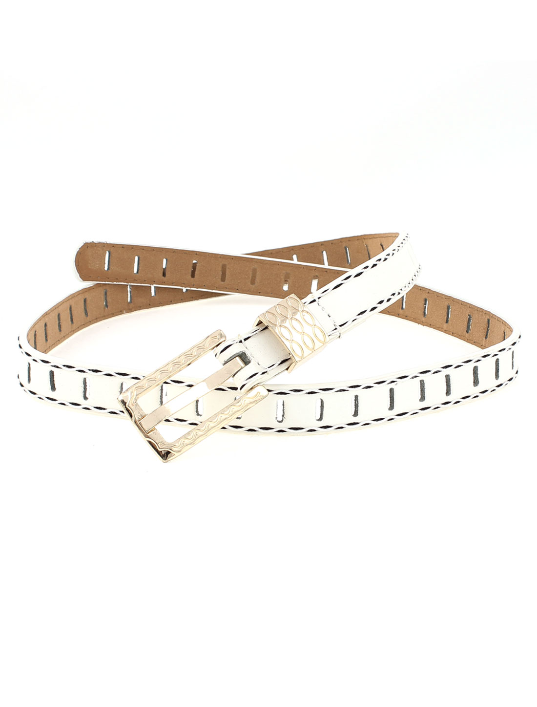 Ladies Single Prong Buckle Faux Leather Thin Waistband Belt White
