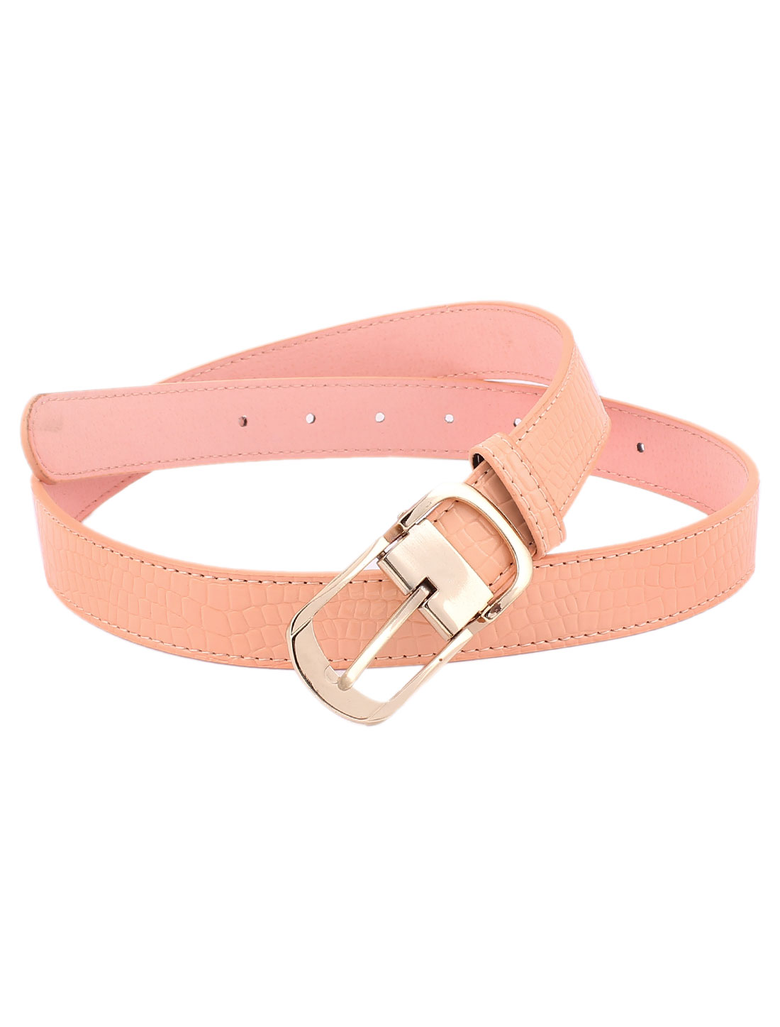 Women Gold Tone Single Prong Buckle Pink Waist Belt Waistband