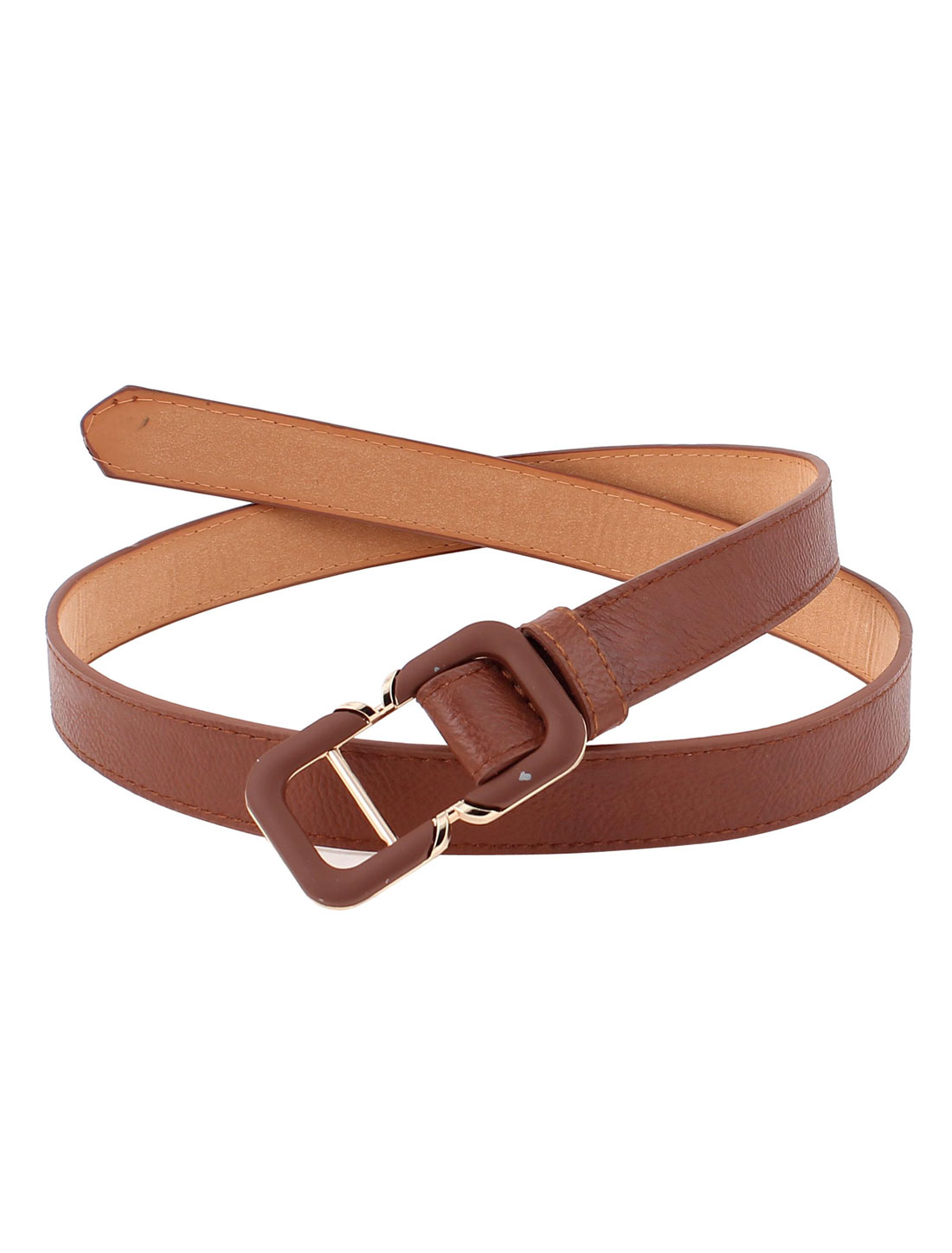 Lady Adjustable Faux Leather Waist Wrap Belt Skinny Band Brown