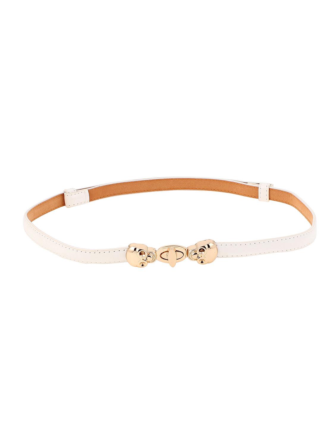 Women Gold Tone Buckle Skinny Leather Cinch Waist Belt White