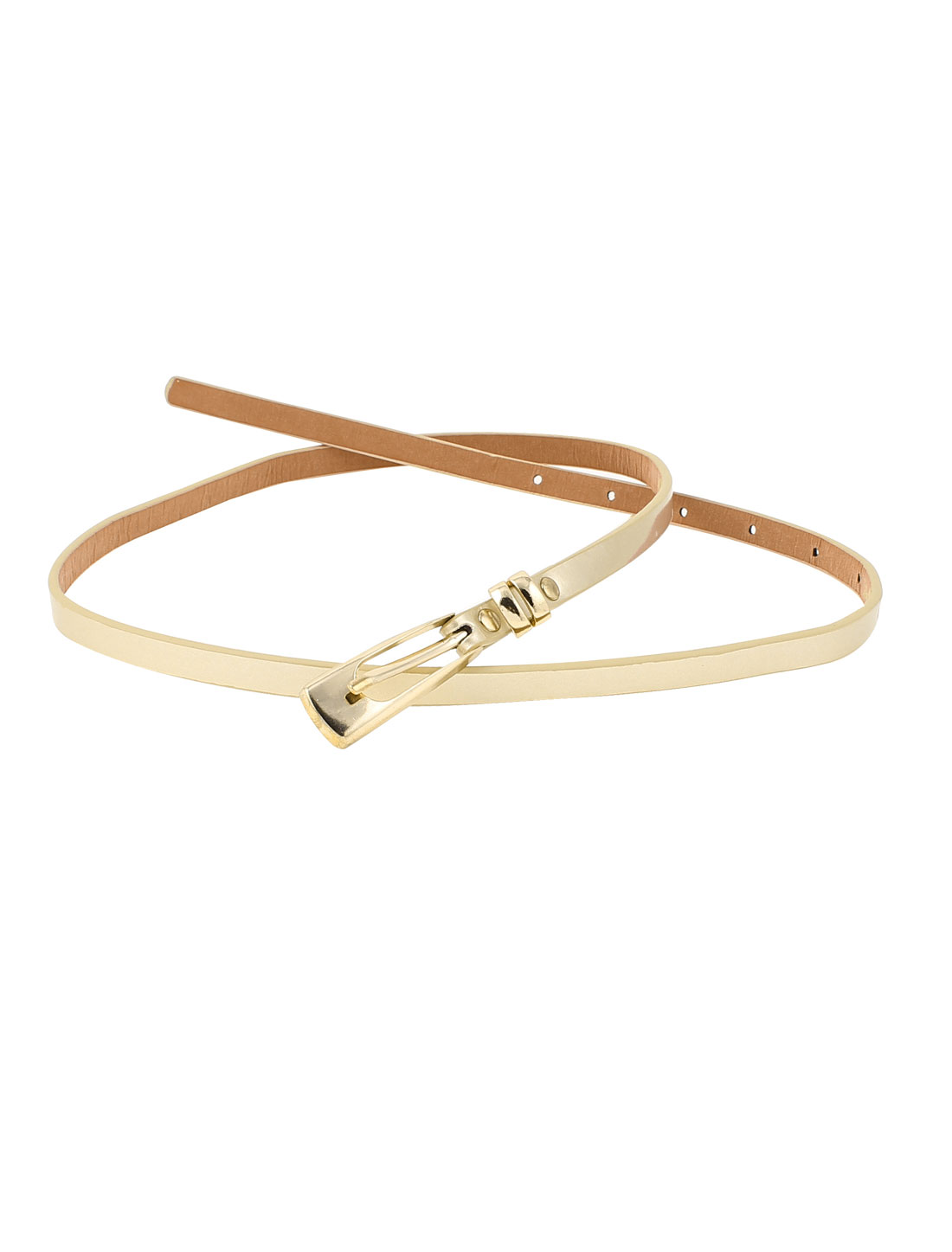 Women Gold Tone Buckle Faux Leather Thin Waist Belt Waistband