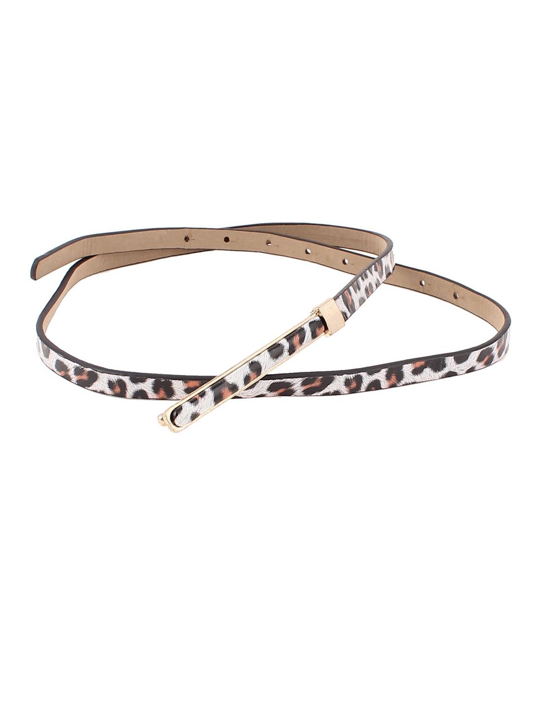Women Leopard Prints Metal Press Buckle Faux Leather Waist Belt Waistband