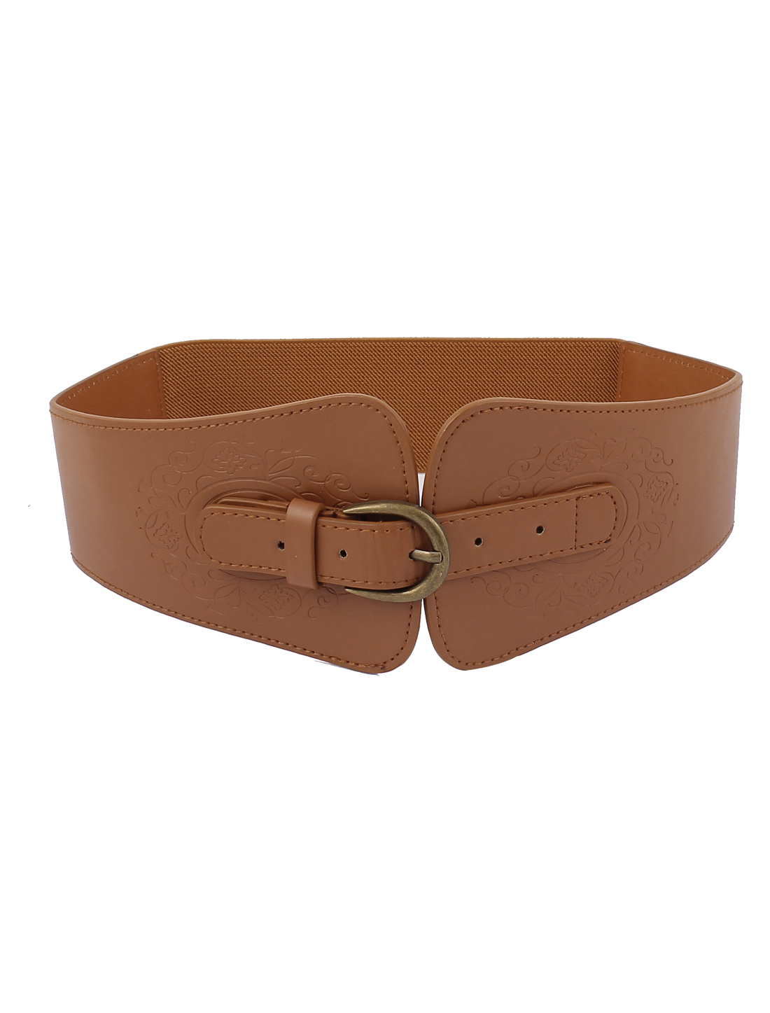 Women Metal Single Buckle Elastic Wide Cinch Waistbelt Brown Bronze Tone