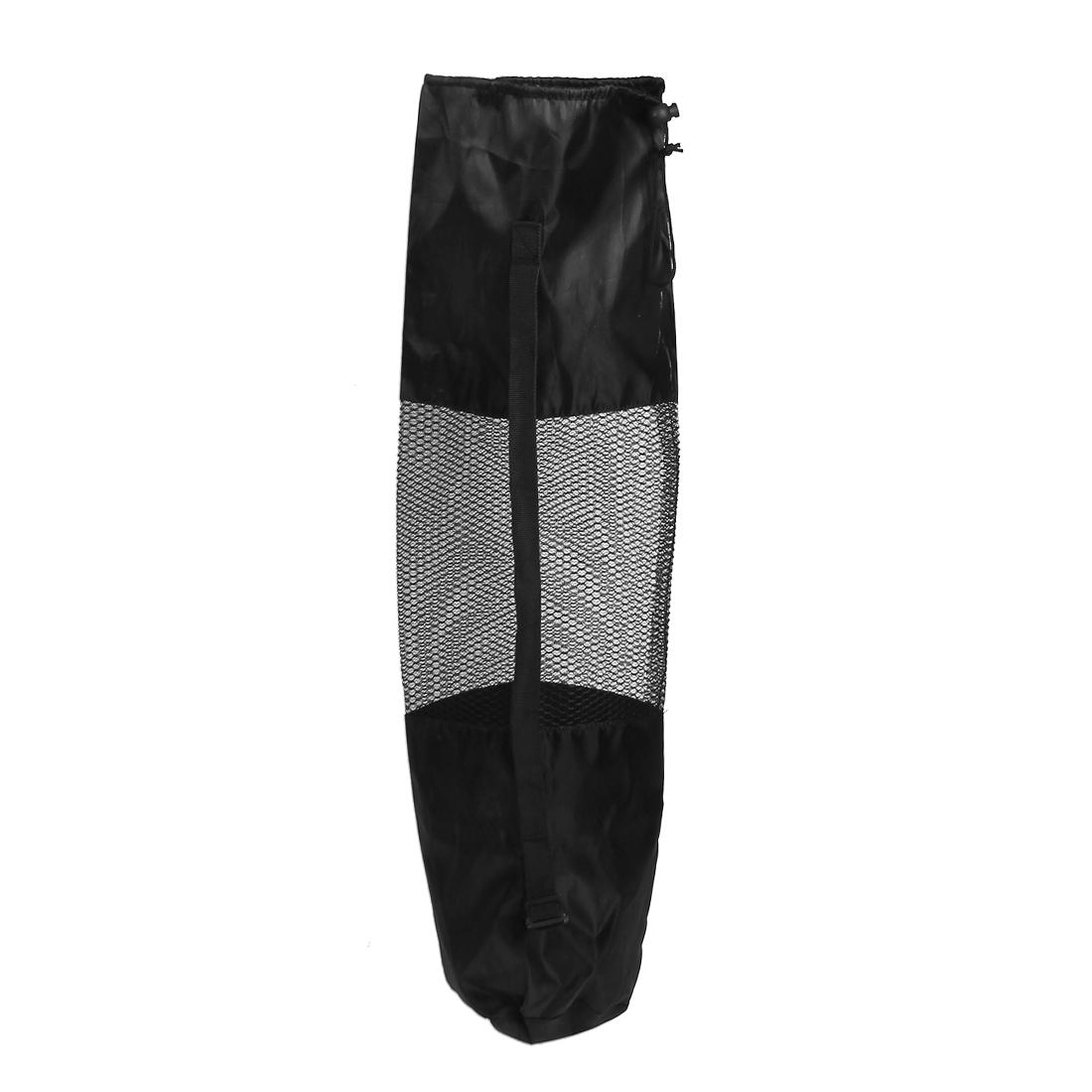 Adjustable Shoulder Strap Yoga Pilates Mat Pad Mesh Net Carrier Bag Black