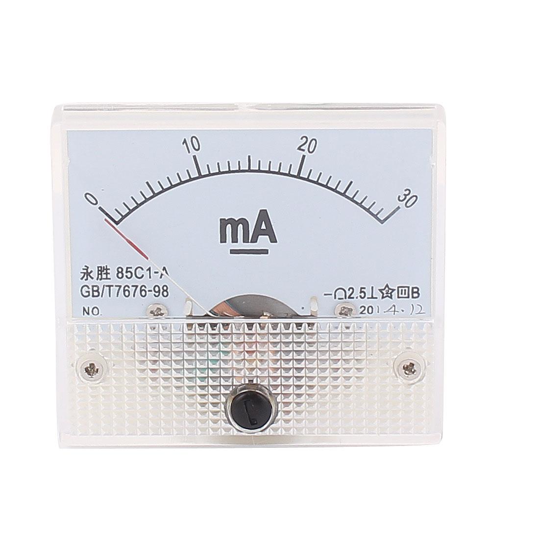 85C1-A DC 0-30mA Rectangle Panel Meter Gauge Current Analogue Analog Ammeter