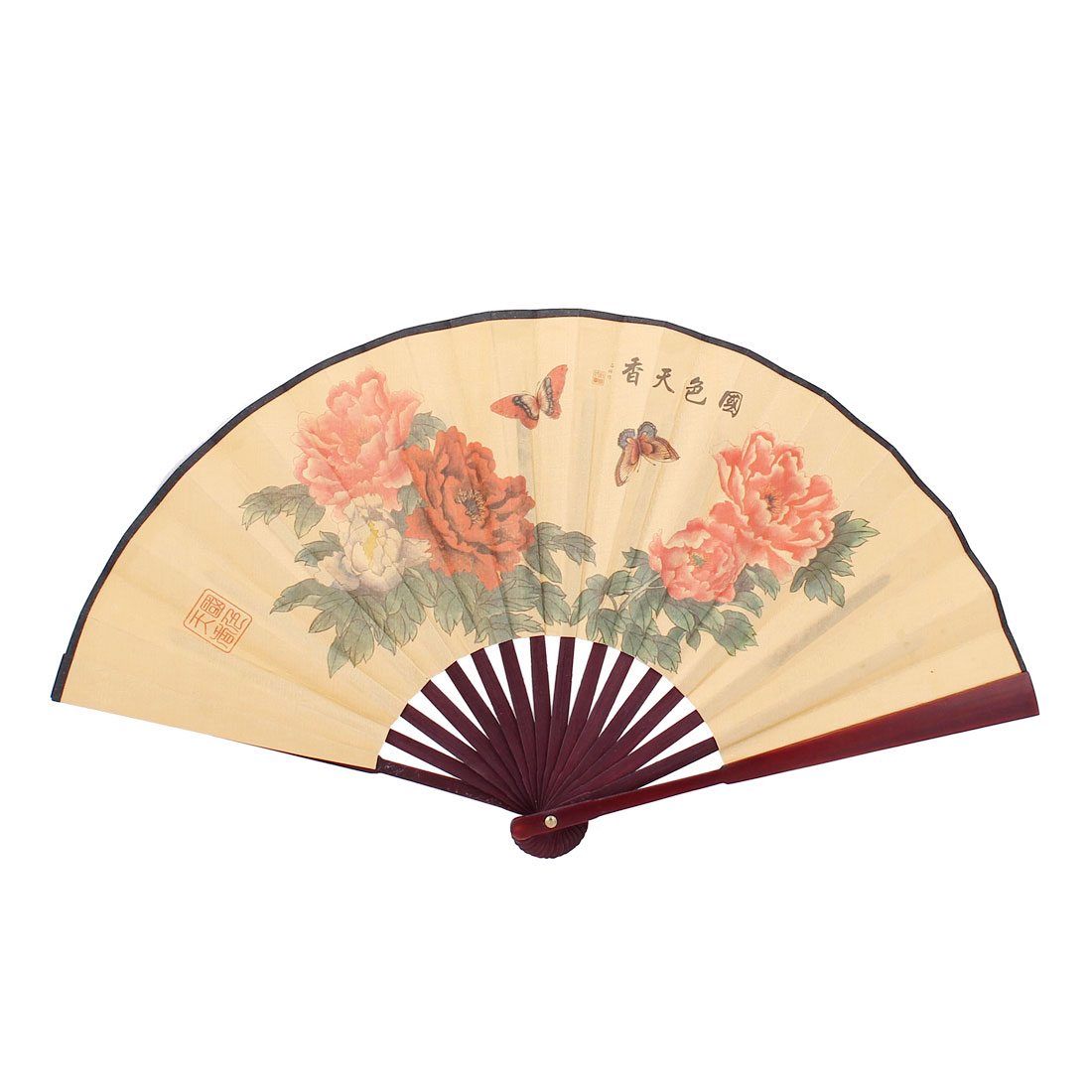Chinese Style Double Side Flower Poetry Pattern Summer Dancing Folding Hand Fan
