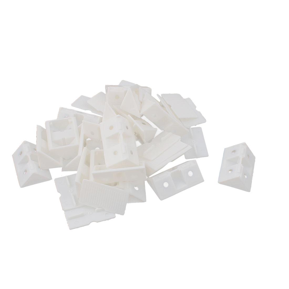 Shelf Closet Plastic Corner Brace Right Angle Bracket Furniture Assembly White 20pcs