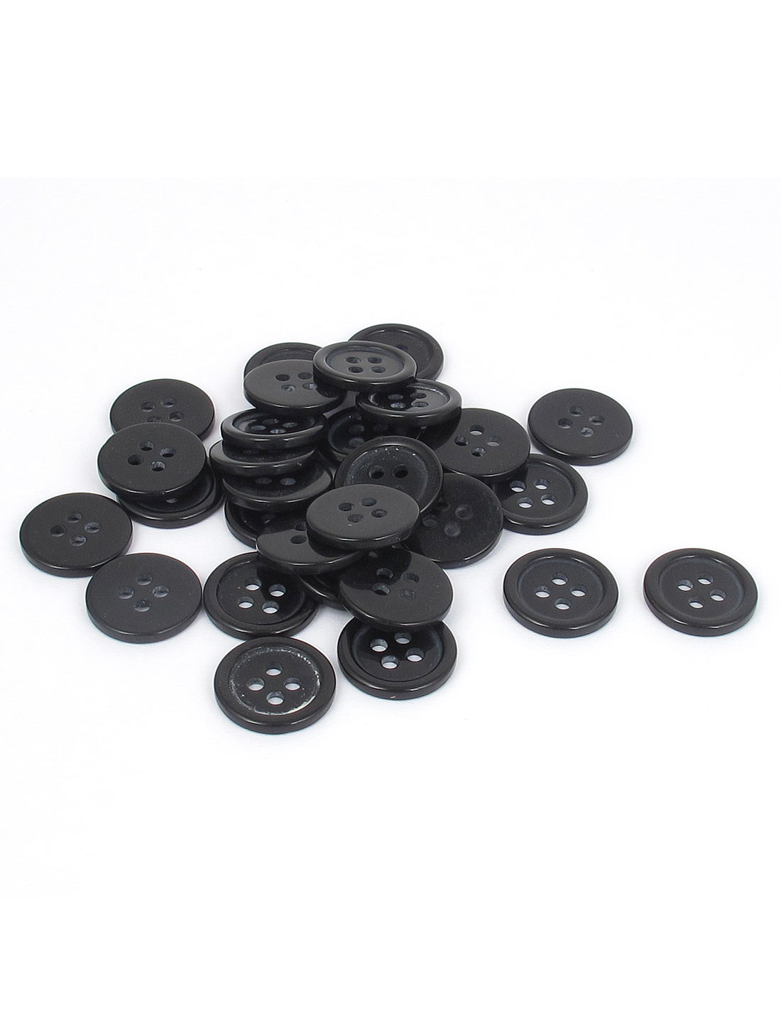 1.3cm Black Round Resin Buttons 4 Holes Clothing Button Scrapbooking Sewing 30pcs